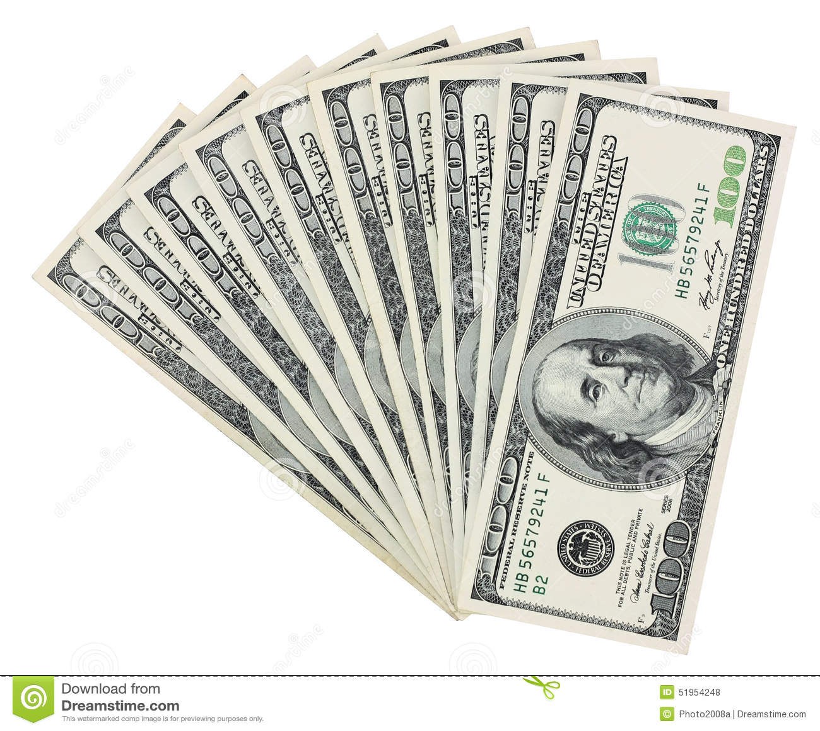 100 het waaien van Dollarrekeningen