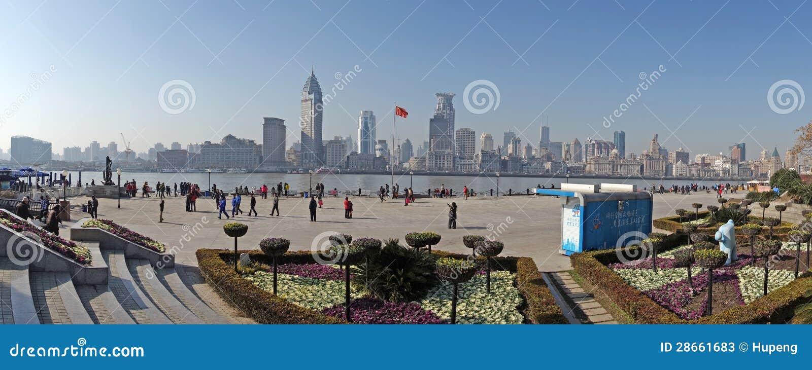 Het waitan panorama van Shanghai