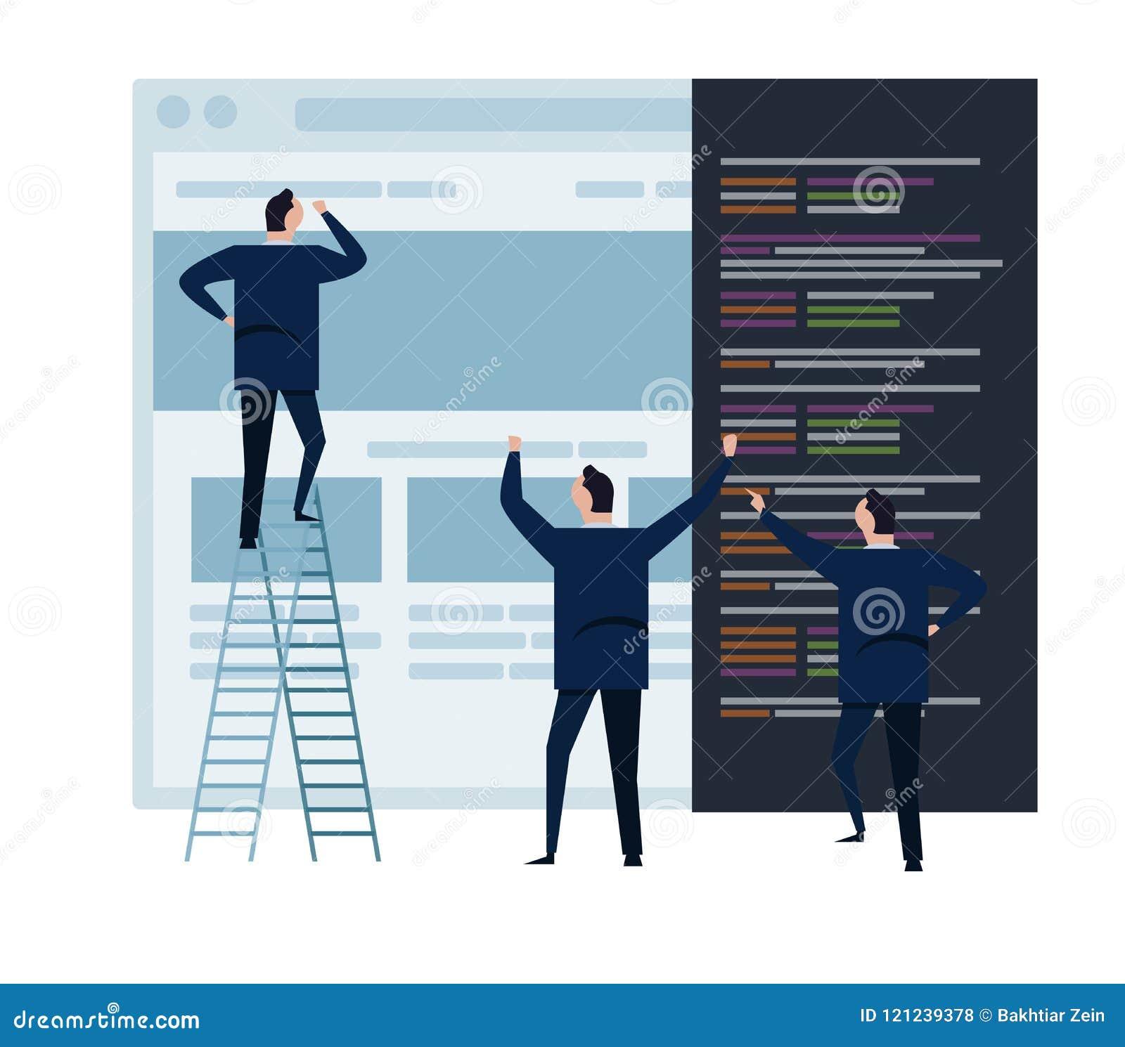 Het Web ontwikkelt zich en het team van het Webontwerp, en mensen het commerciële team die aan programmerende het concepten klein