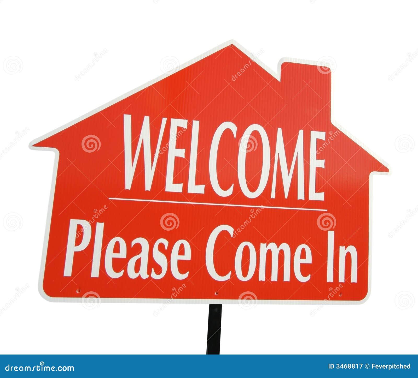 Het welkom, gelieve te komen in Teken