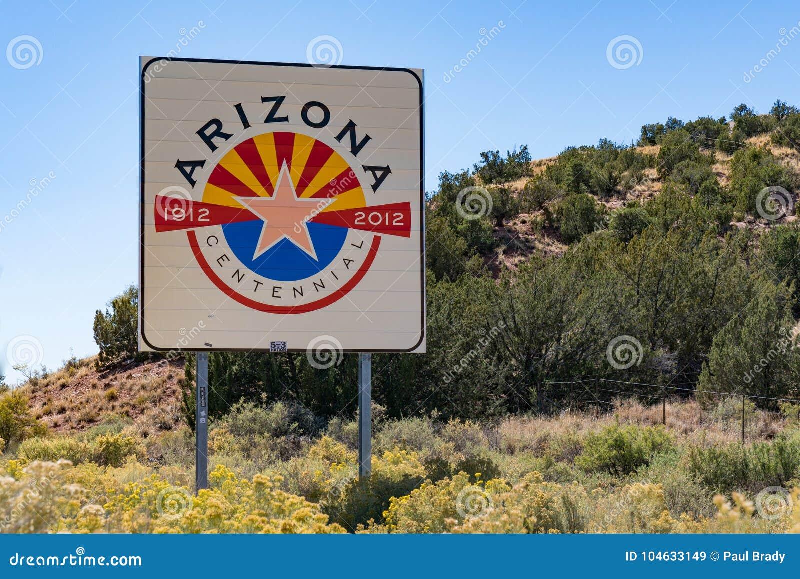 Download Het Welkome Teken Van Arizona Redactionele Stock Afbeelding - Afbeelding bestaande uit canion, groot: 104633149