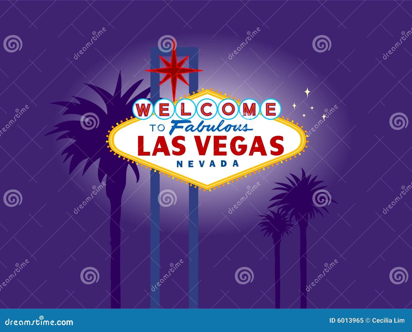 Het Welkome Teken van Vegas van Las bij Nacht met Palmen