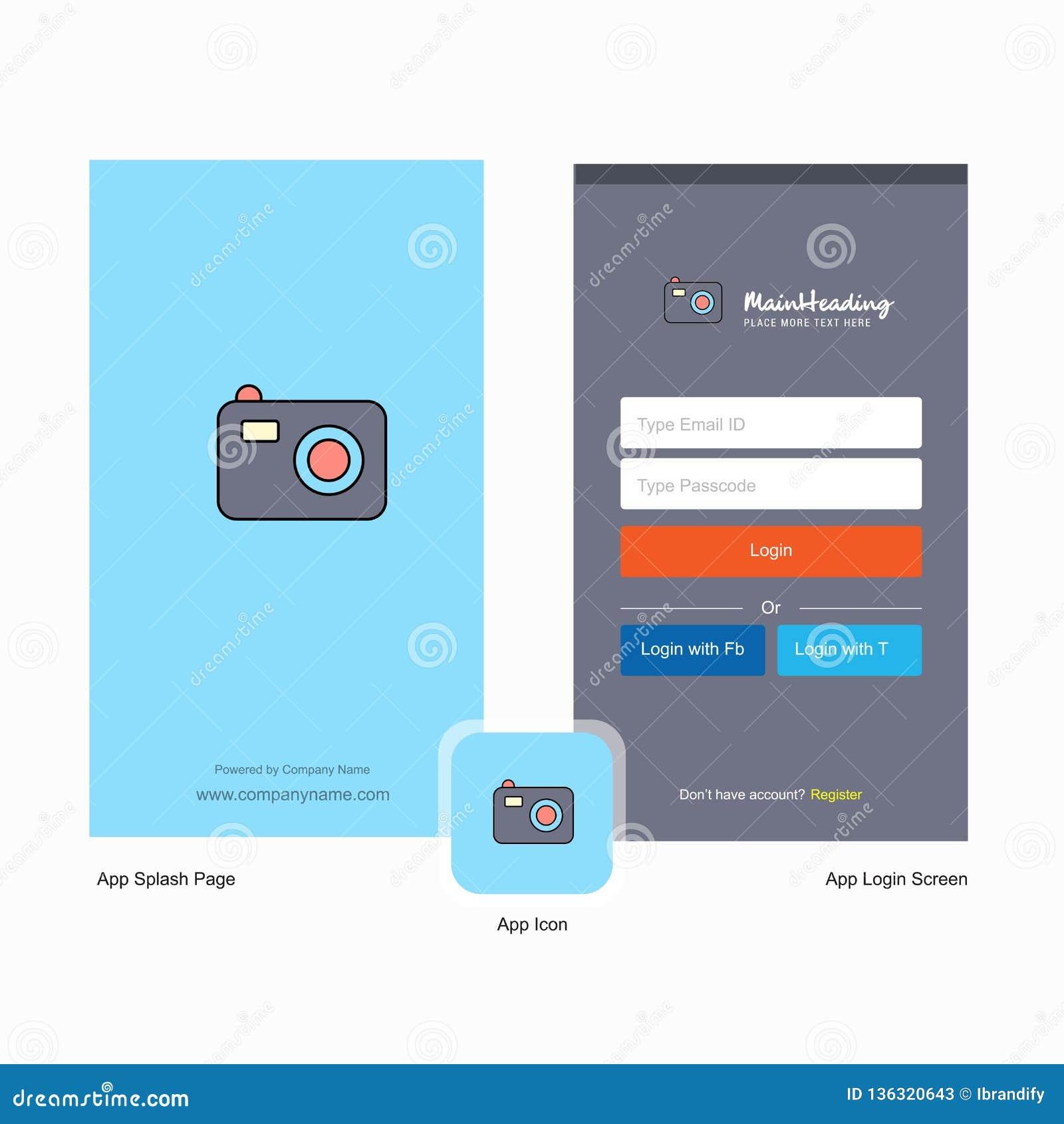 Het Welkomstscherm van de bedrijfcamera en Login Paginaontwerp met Embleemmalplaatje Mobiel Online Bedrijfsmalplaatje