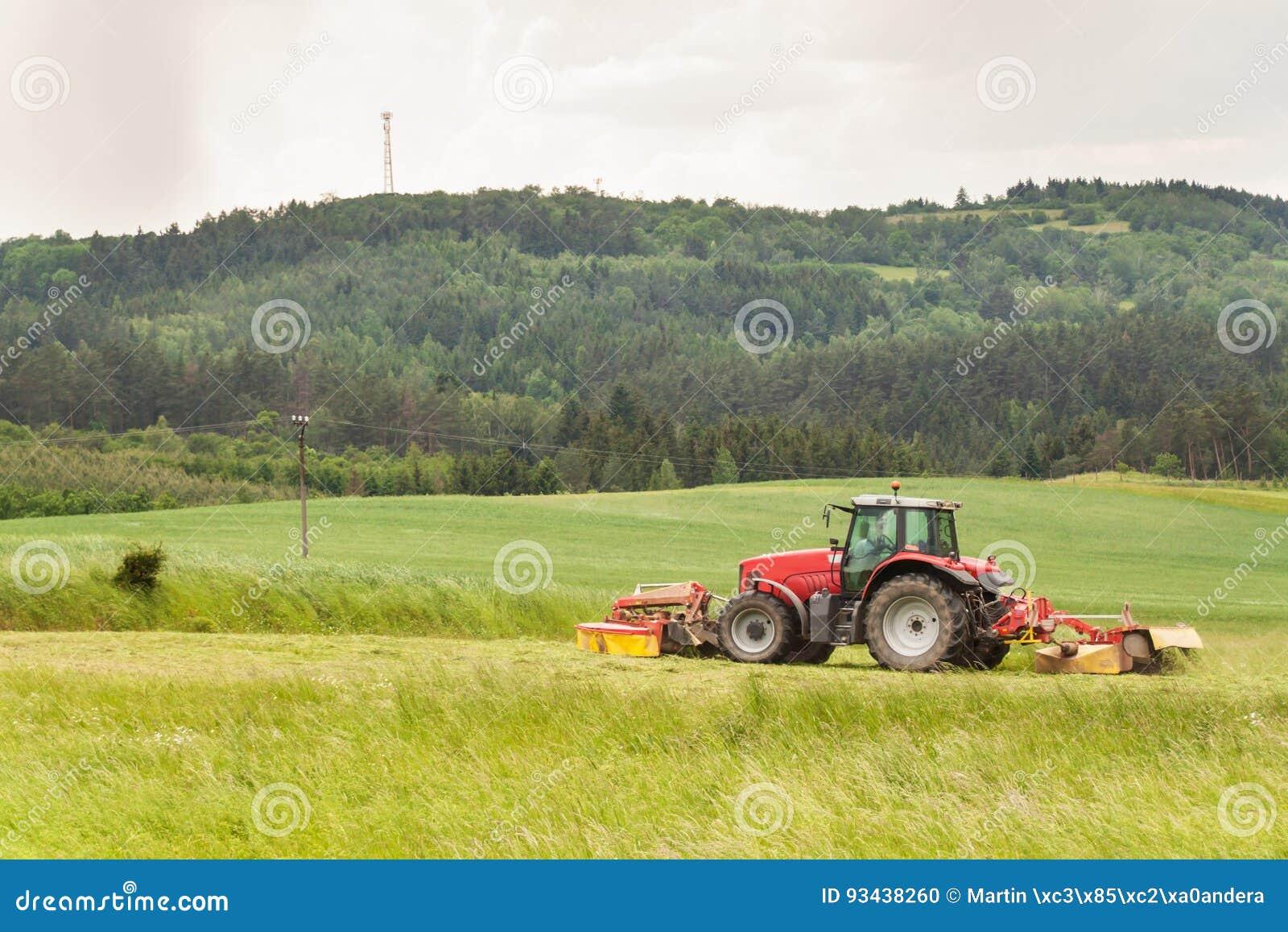 Het werk aangaande een landbouwlandbouwbedrijf Een rode tractor snijdt een weide