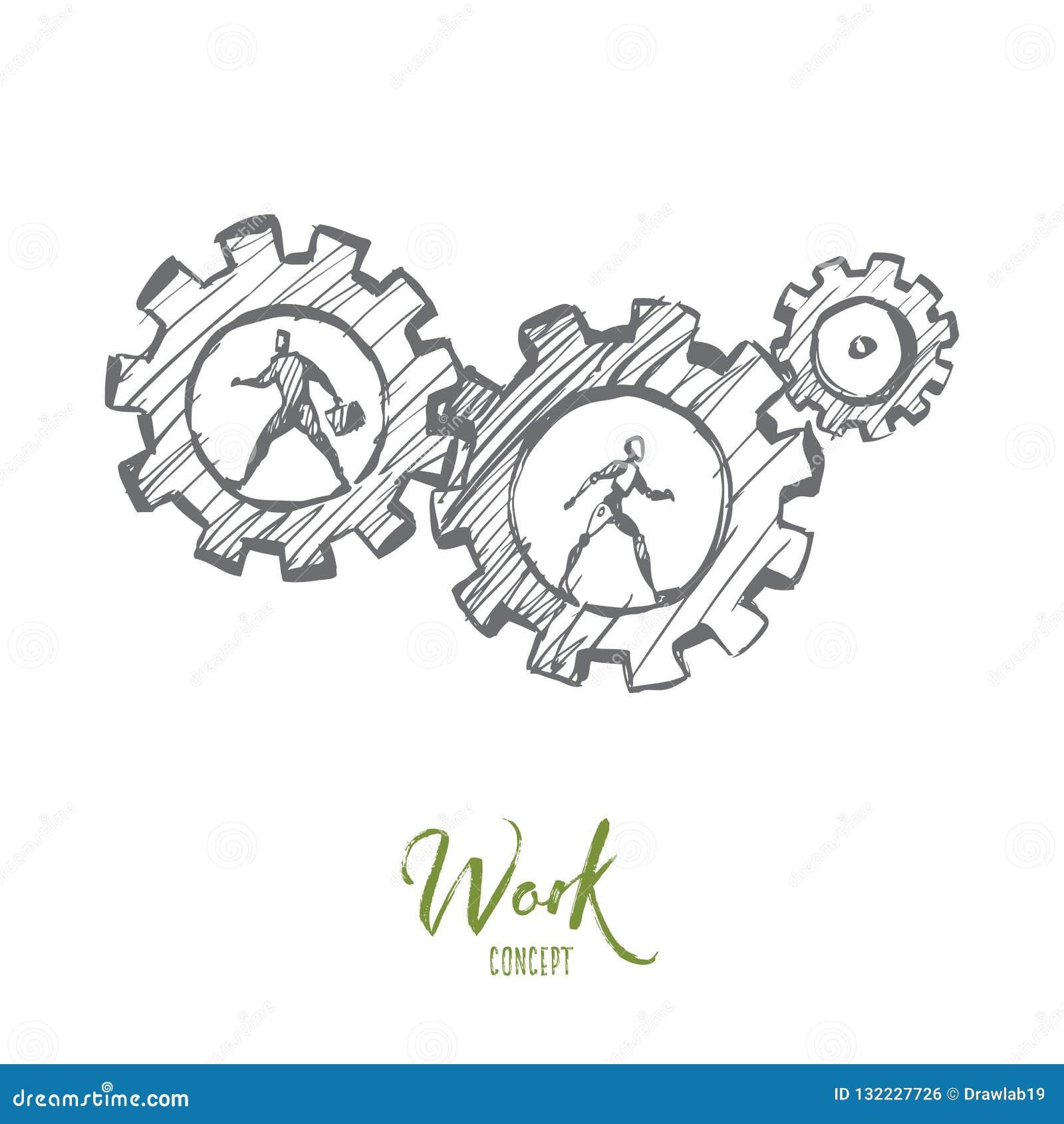 Het werk, zaken, automatisering, HCI, technologieconcept Hand getrokken geïsoleerde vector