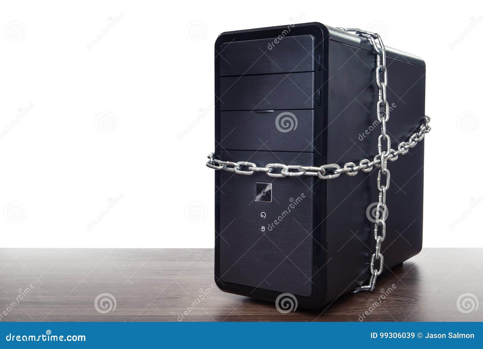 Het werkcomputer in kettingen