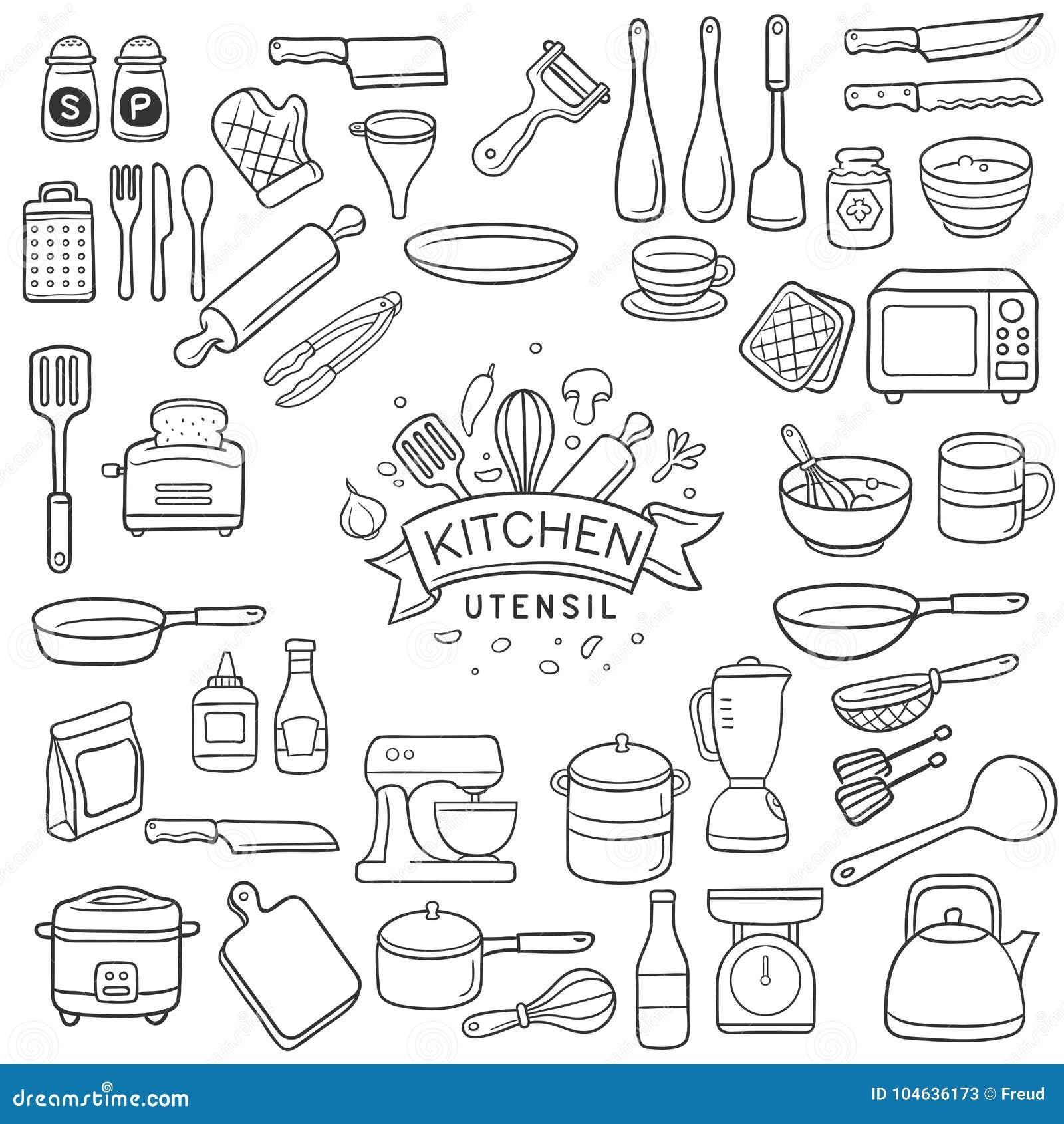 Download Het Werktuigschets Van De Krabbelkeuken Vector Illustratie - Illustratie bestaande uit saus, mixer: 104636173