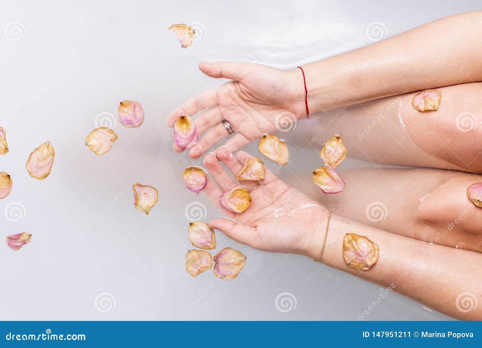 Het wijfje dient water met roze roze bloemblaadjes in