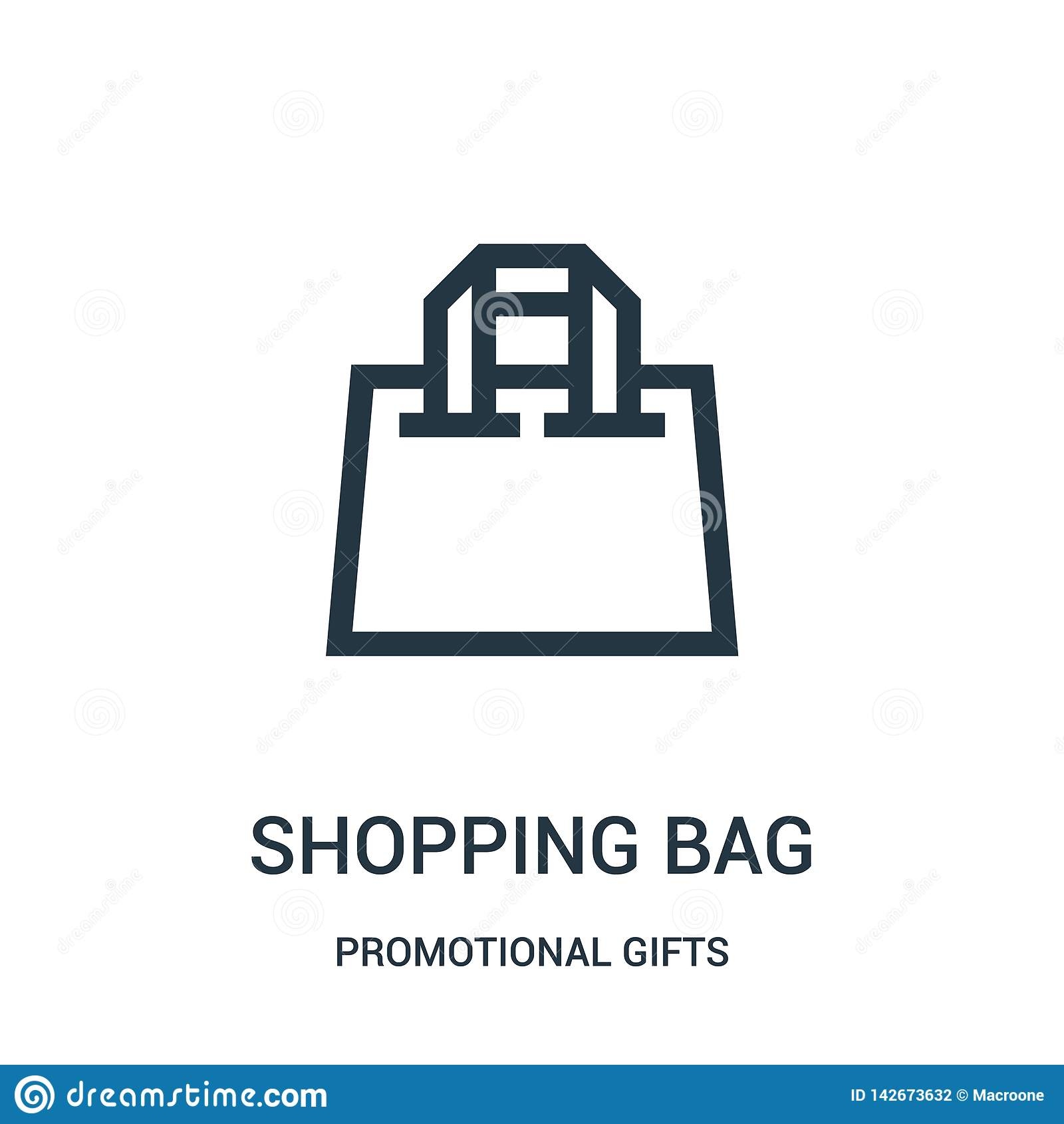 Het winkelen de vector van het zakpictogram van promotiegifteninzameling Dunne lijn het winkelen het pictogram vectorillustratie
