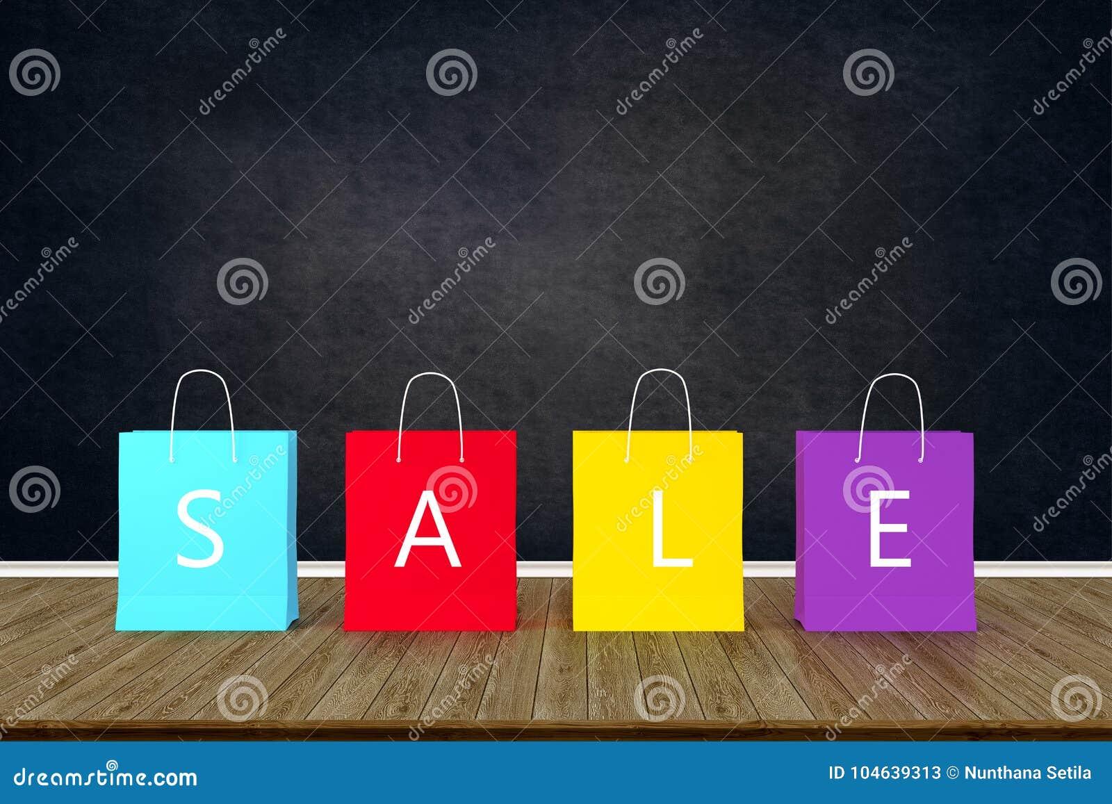 Download Het Winkelen Document Zakken Voor Verkoop Die Op Houten Lijst Met Blac Adverteren Stock Afbeelding - Afbeelding bestaande uit gedrag, verslaafde: 104639313