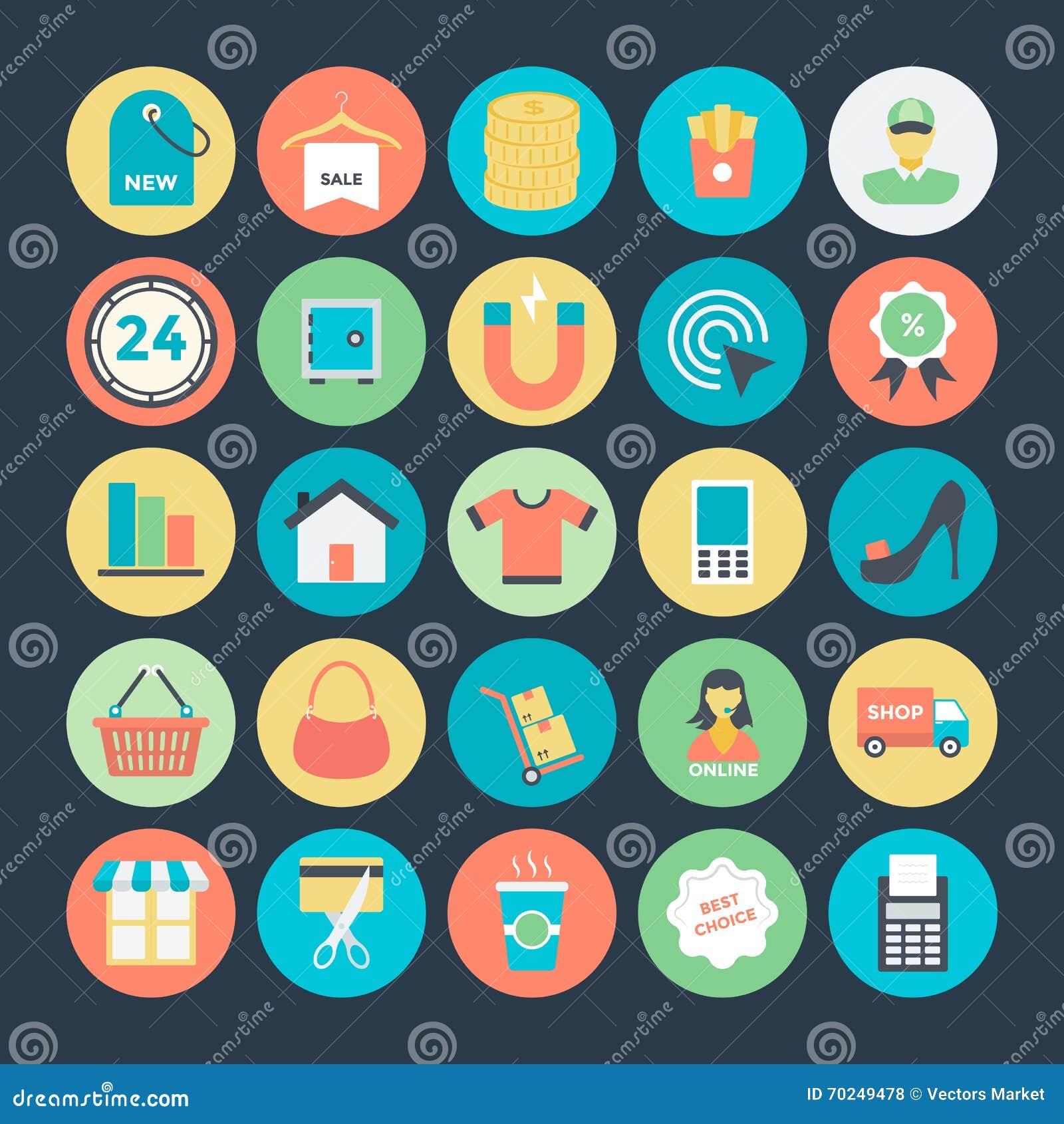 Het winkelen en Handels Vectorpictogrammen 3