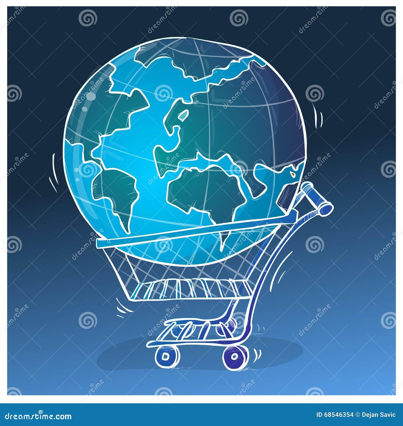 Het winkelen illustratie wereldwijd