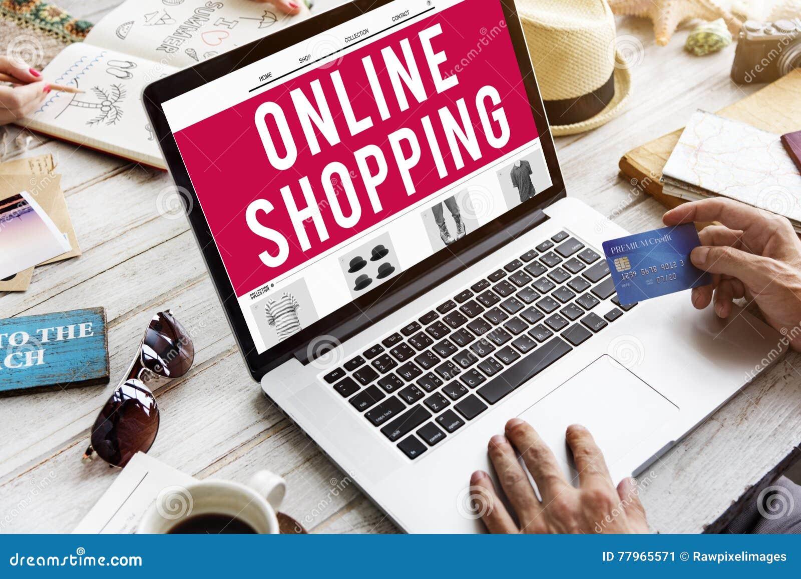 Het winkelen Online de Verkoopconcept van de Consumentismeverbinding