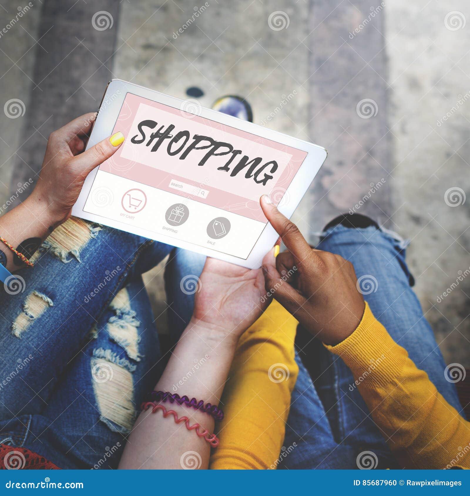 Het winkelen online koopt het Concept van Verkoopshopaholic
