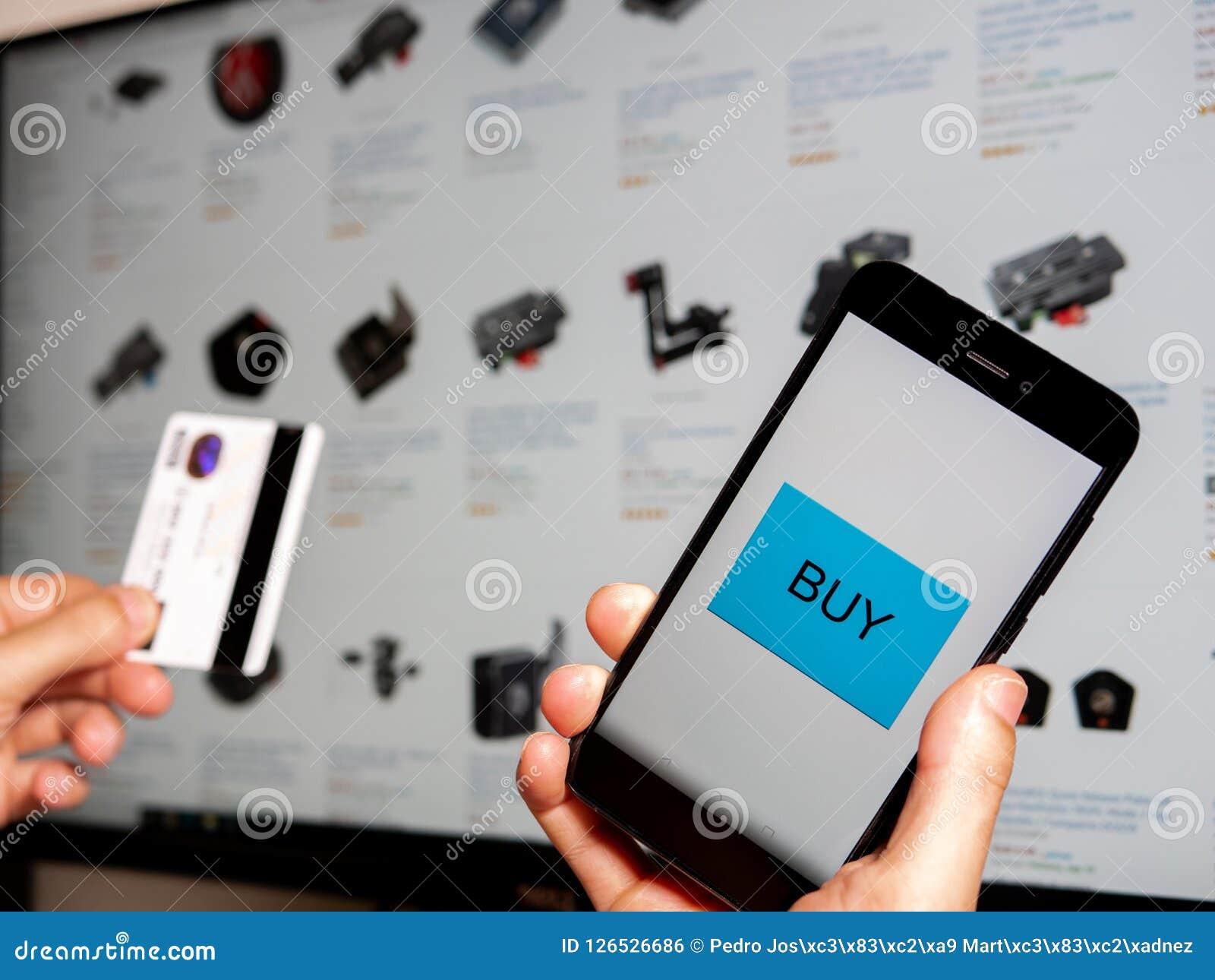 Het winkelen online met telefoon