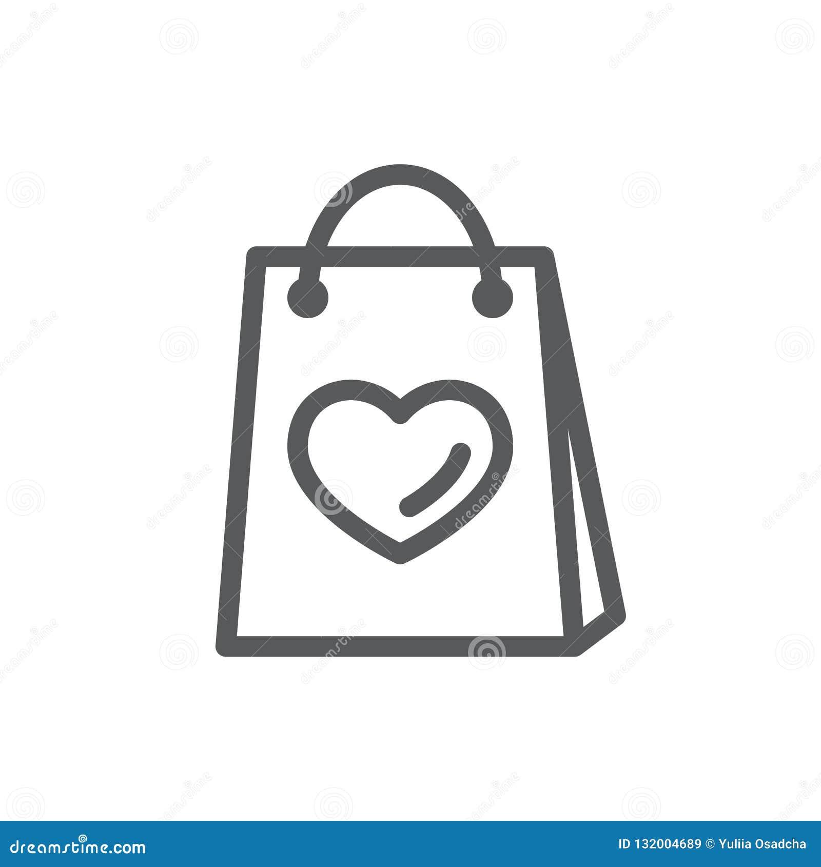 Het winkelen zak met beeld van het pictogram van de hartlijn met editable slag