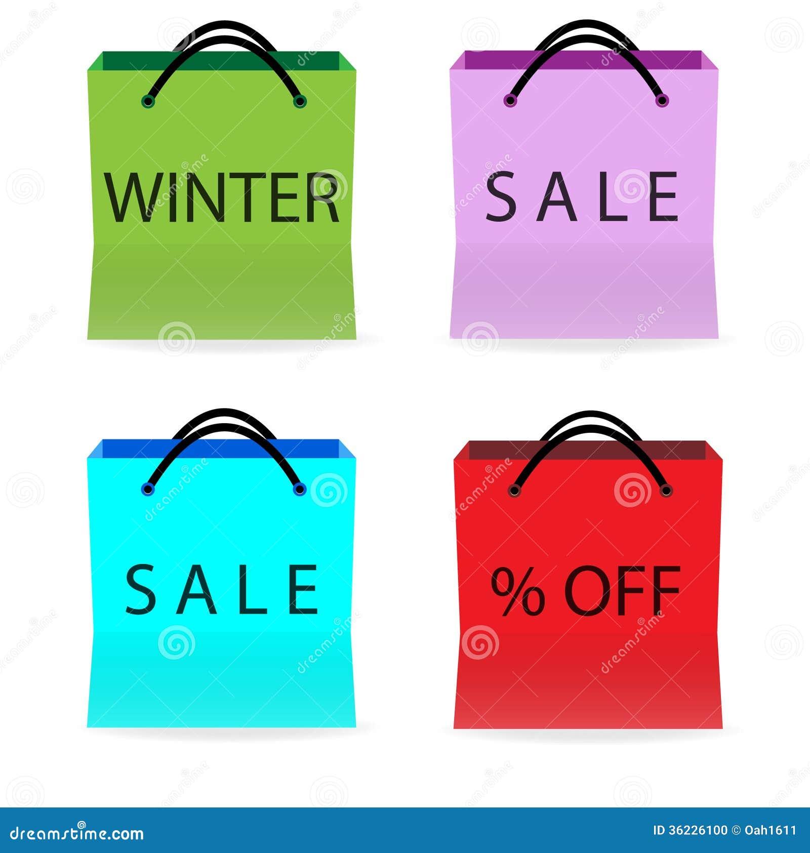 Het winkelen zakken met verkooptekens
