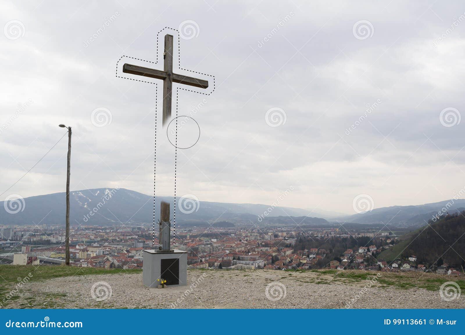 Het wissen van christelijk kruis
