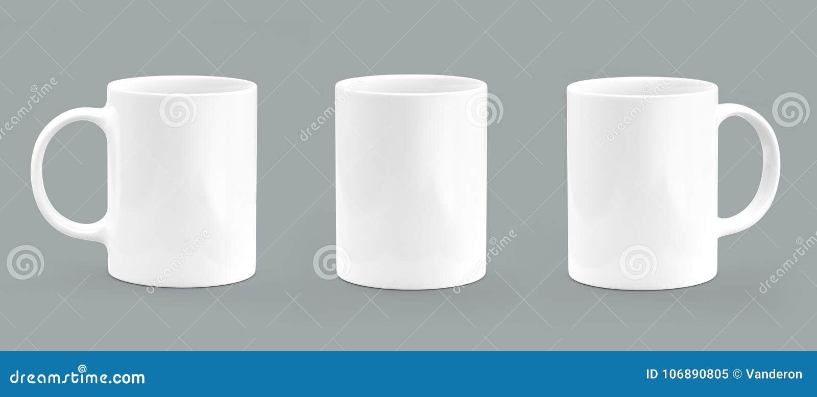 Het wit van de koffiemok op grijze achtergrond Mok leeg model
