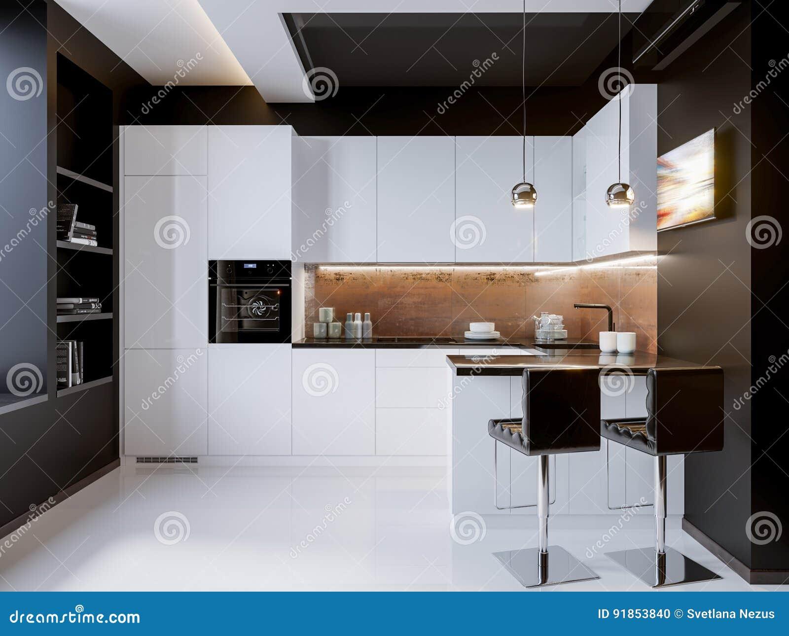 Moderne Keuken Ontwerpen : Het witte binnenlandse ontwerp van de contrast moderne keuken stock