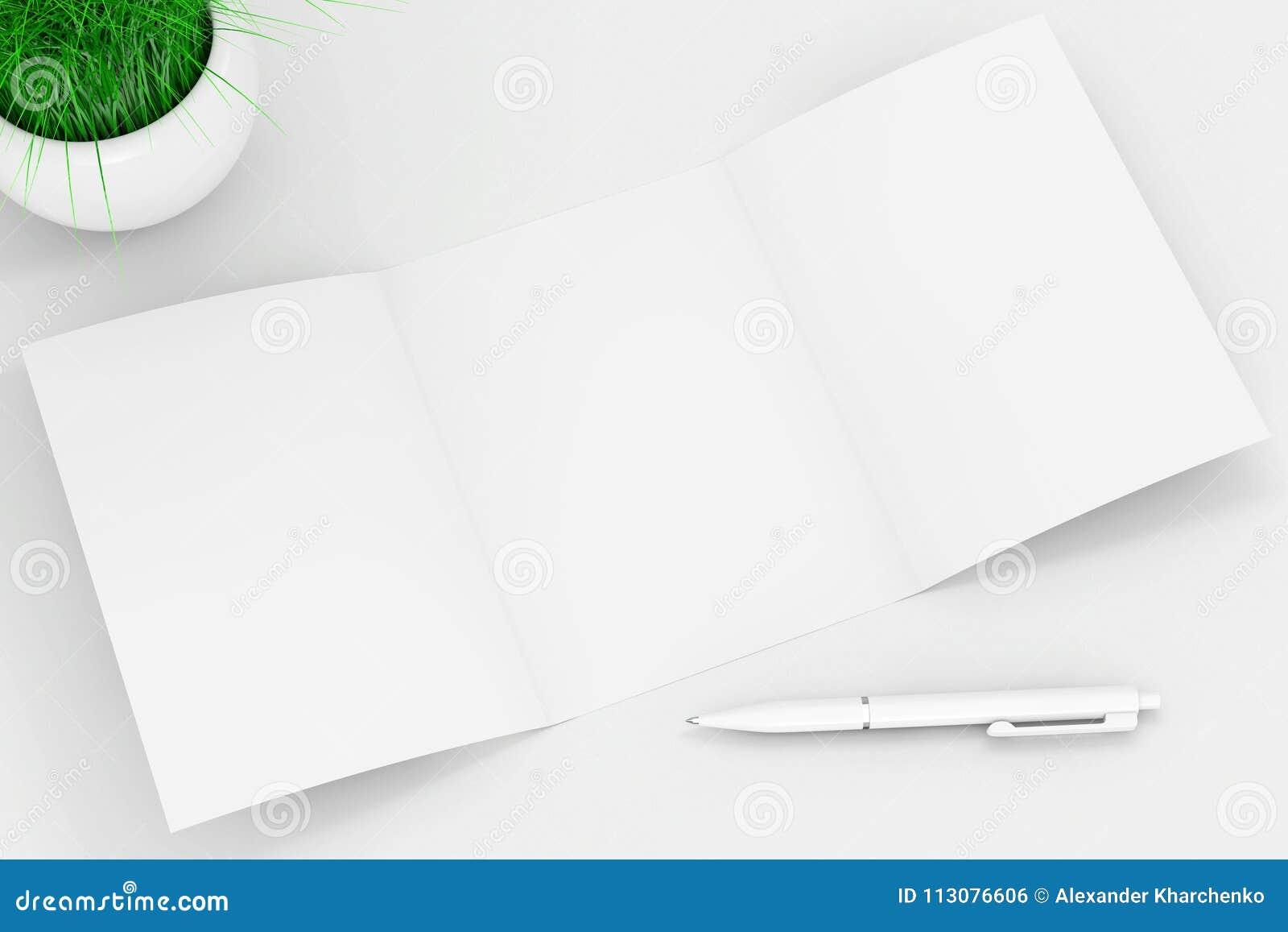 Het witte Gevouwen Document van de Modelbrochure dichtbij Pen en Gras in Wit C