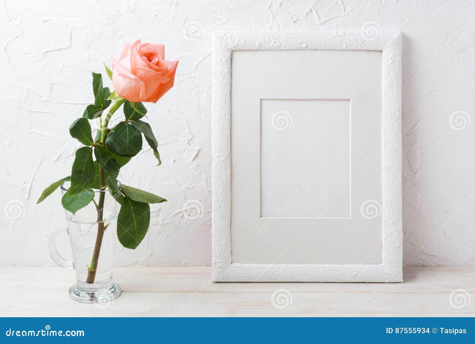 Het witte kadermodel met romige roze nam in glasvaas toe