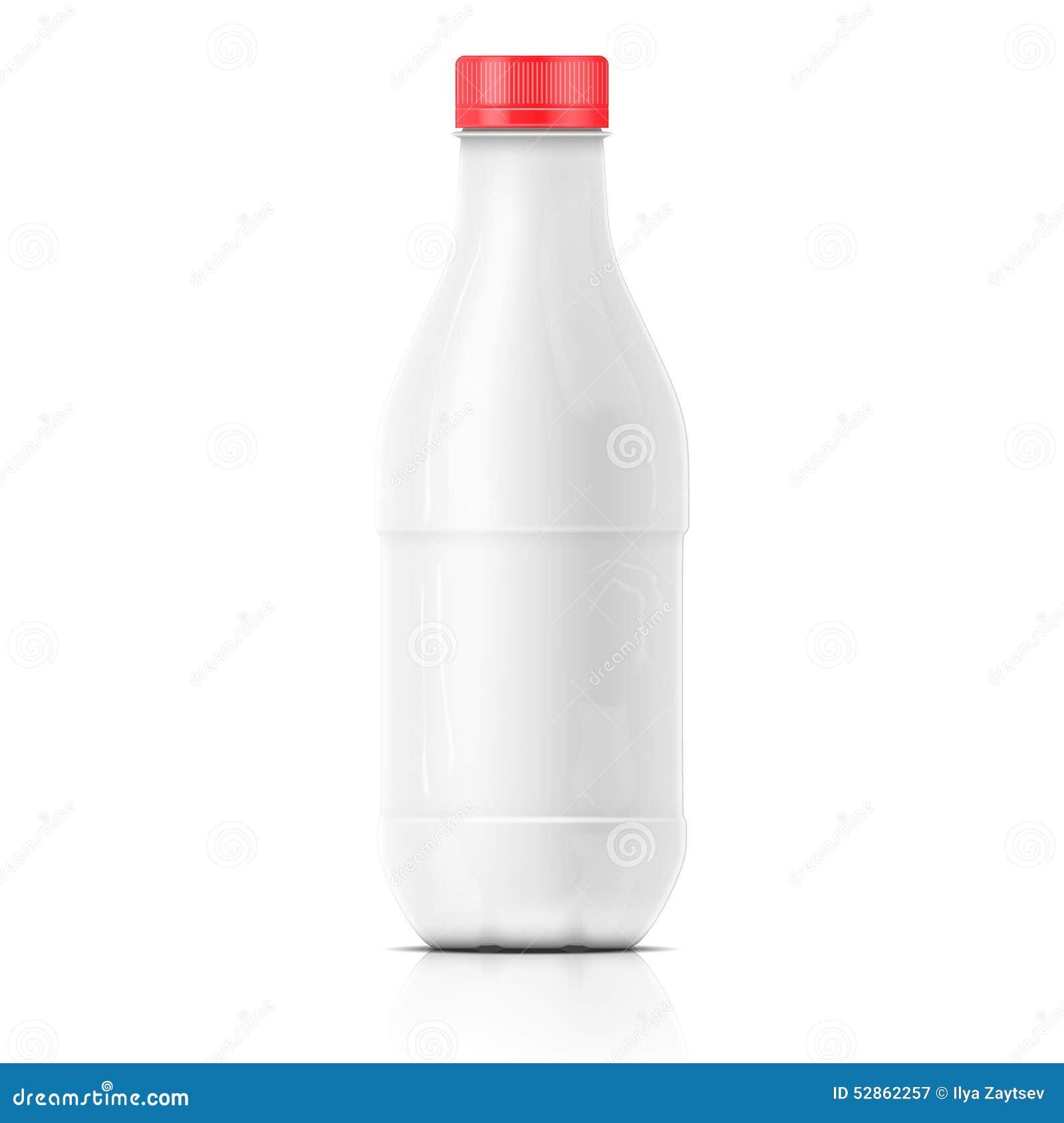 Het witte malplaatje van de melk plastic fles