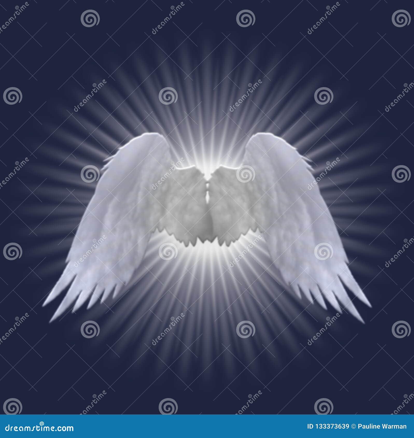 Het witte ontwerp van engelenvleugels op donkerblauwe achtergrond