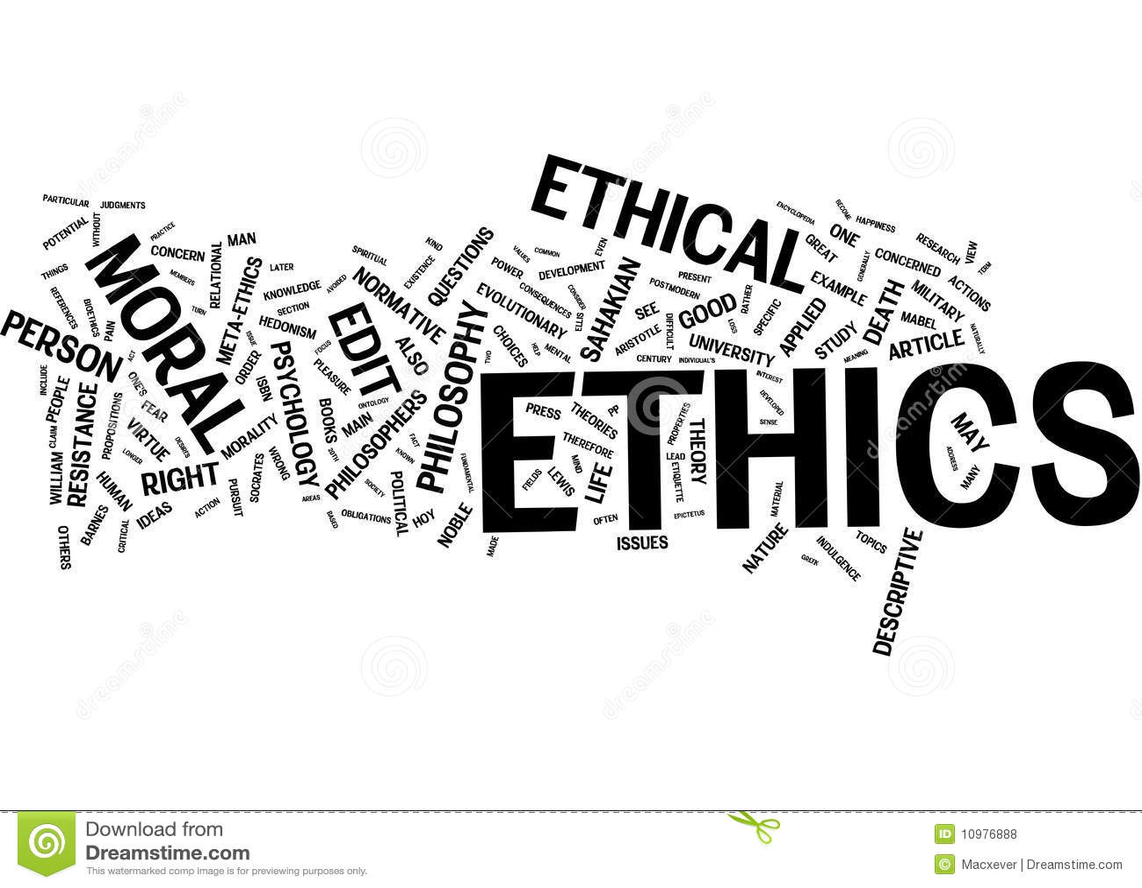 Het woordwolk van de ethiek