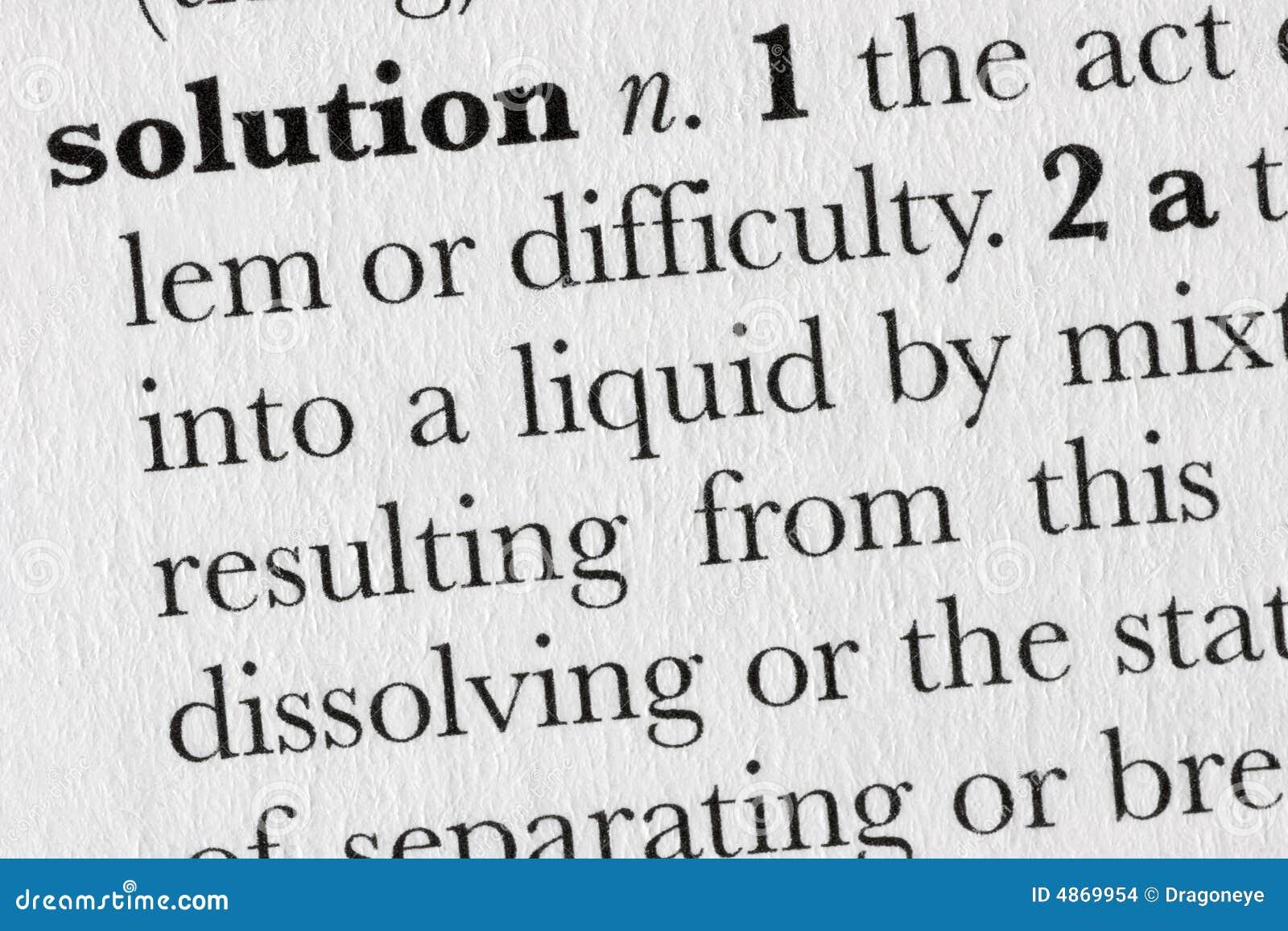 Het woordwoordenboek van de oplossing defin