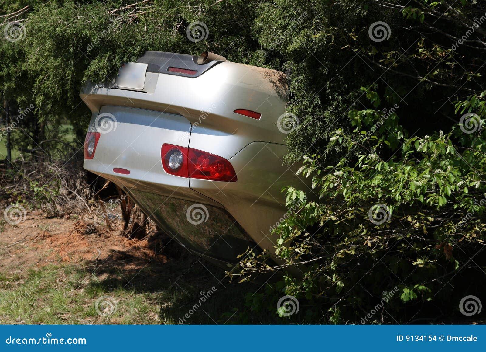 Het wrak van de auto