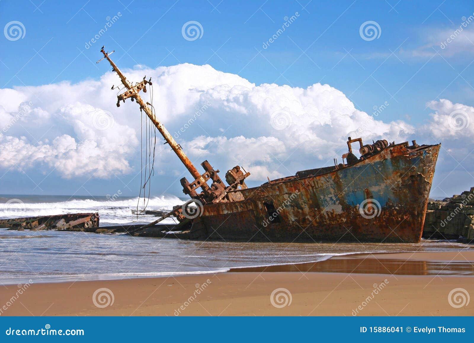 Het wrak van het schip