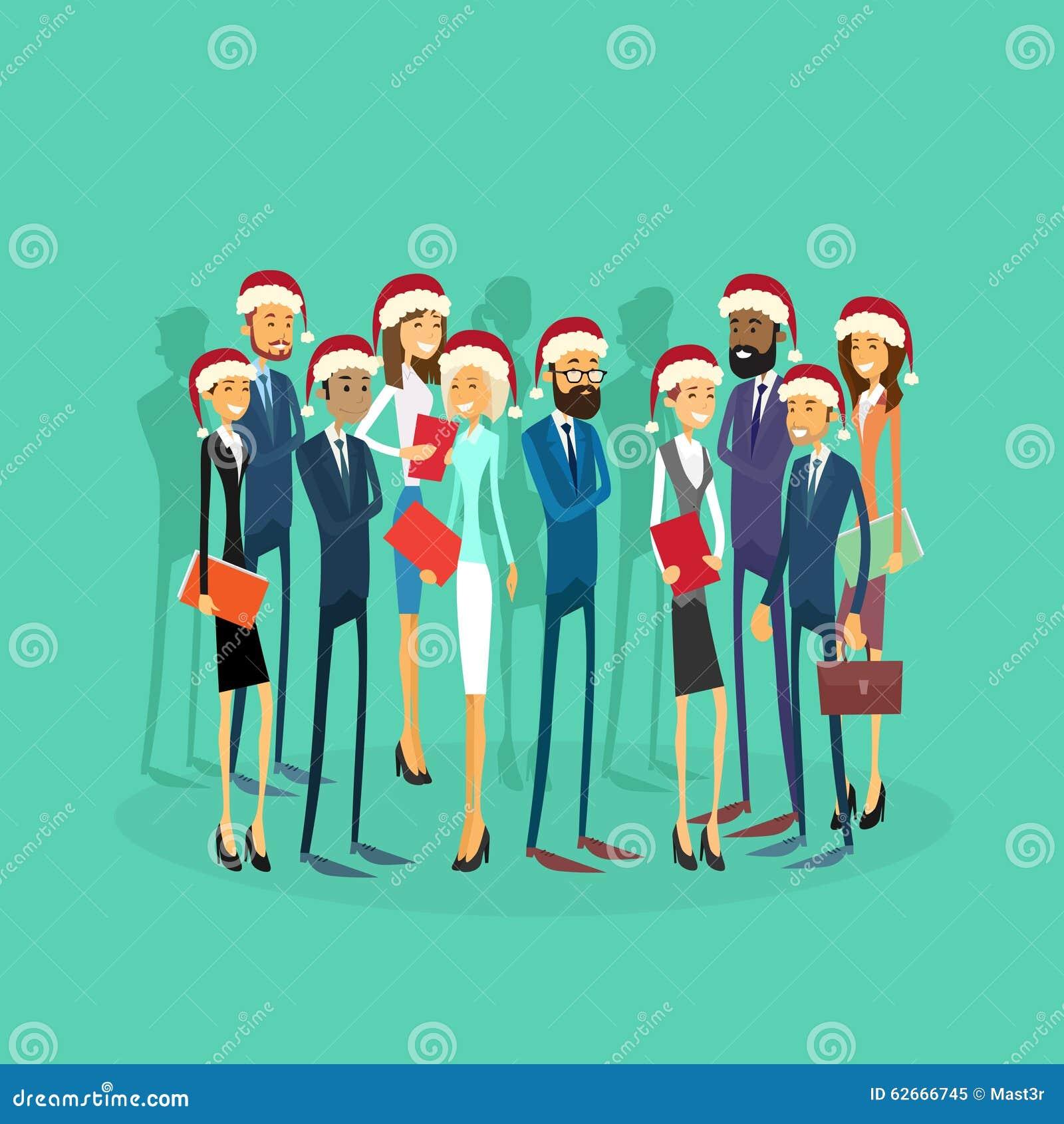 Het zakenlui draagt Santa Hat Merry Christmas And
