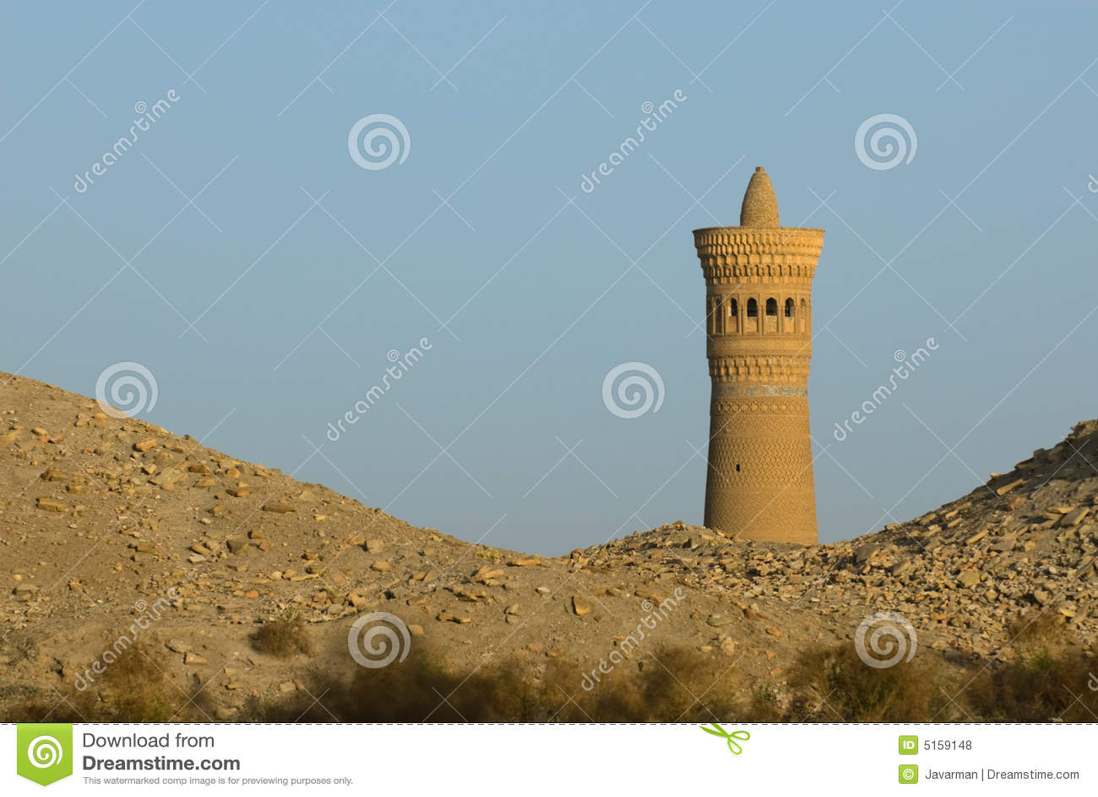 Het zand van de minaret en van de woestijn