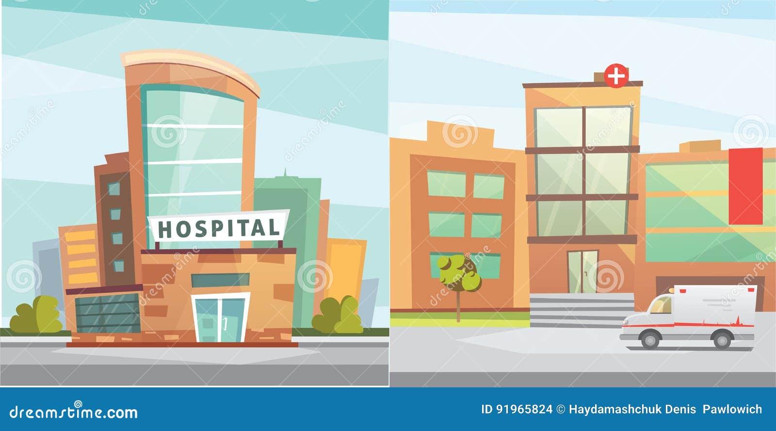 Het ziekenhuis de moderne vectorillustratie van het de bouwbeeldverhaal medische kliniek en - Moderne buitenkant indeling ...