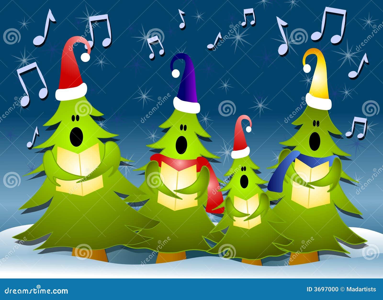 Het Zingen Van Carolers Van De Kerstboom In Sneeuw Stock