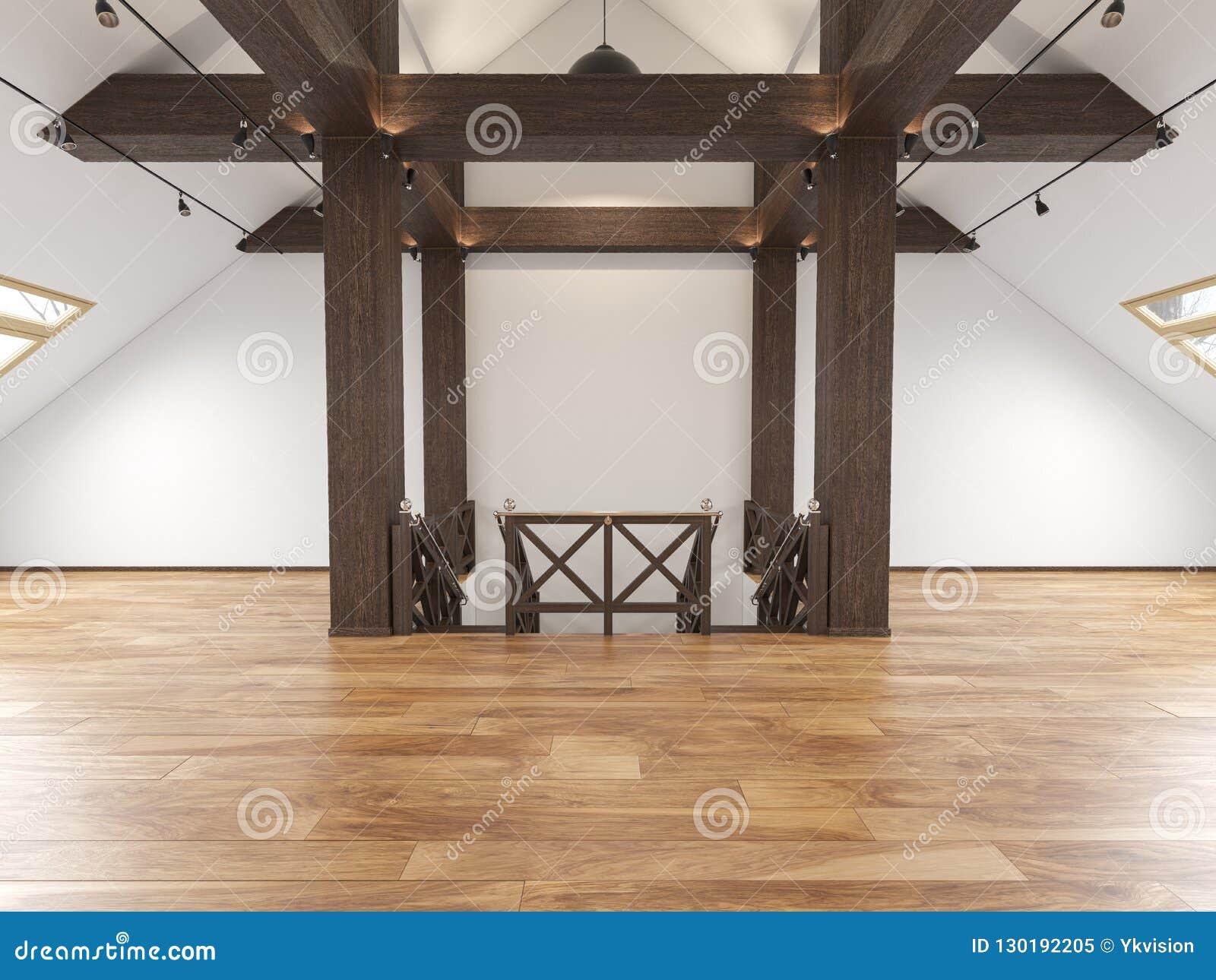 Het zolder lege binnenland van de zolderopen plek met stralen, vensters, trap, houten vloer