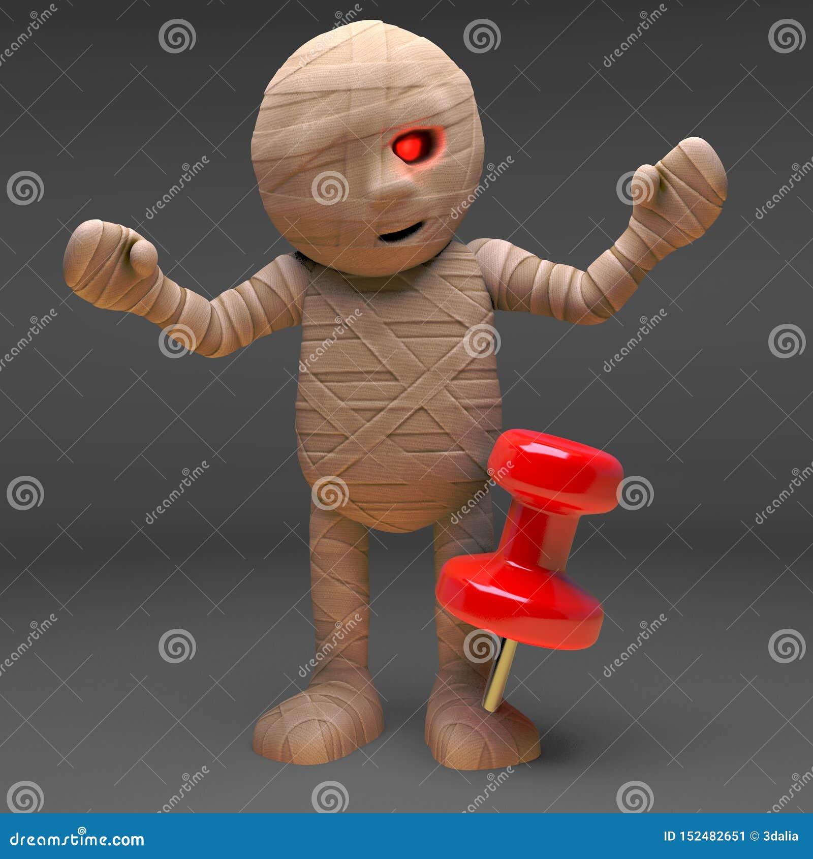 Het zombiemonster heeft een speldkopspijker in zijn voet, 3d illustratie