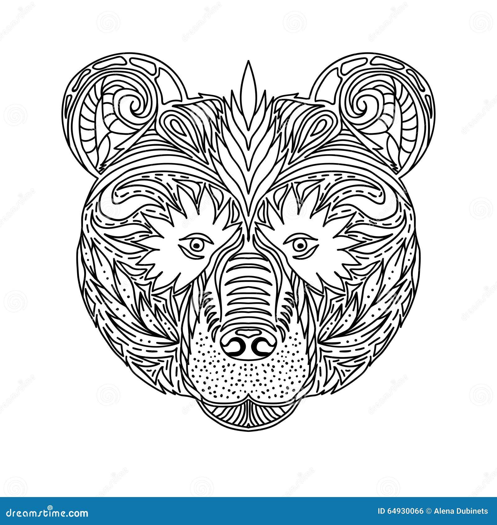 Wolven Kleurplaat Voor Volwassenen Het Zwart Witte Ornament Ziet Wild Dier Van Het Bos Onder