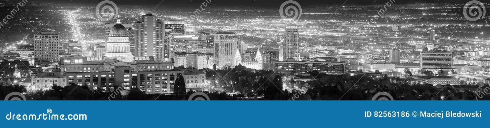 Het zwart-witte panoramische beeld van Salt Lake City, de V.S.
