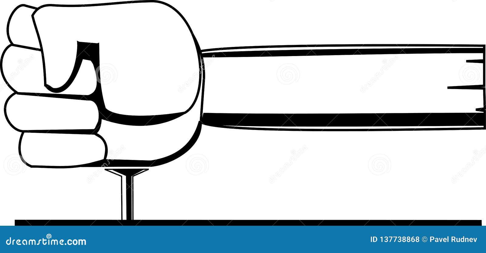 Het zwart-witte vectorbeeld een vuist-vormige hamer raakt een spijker