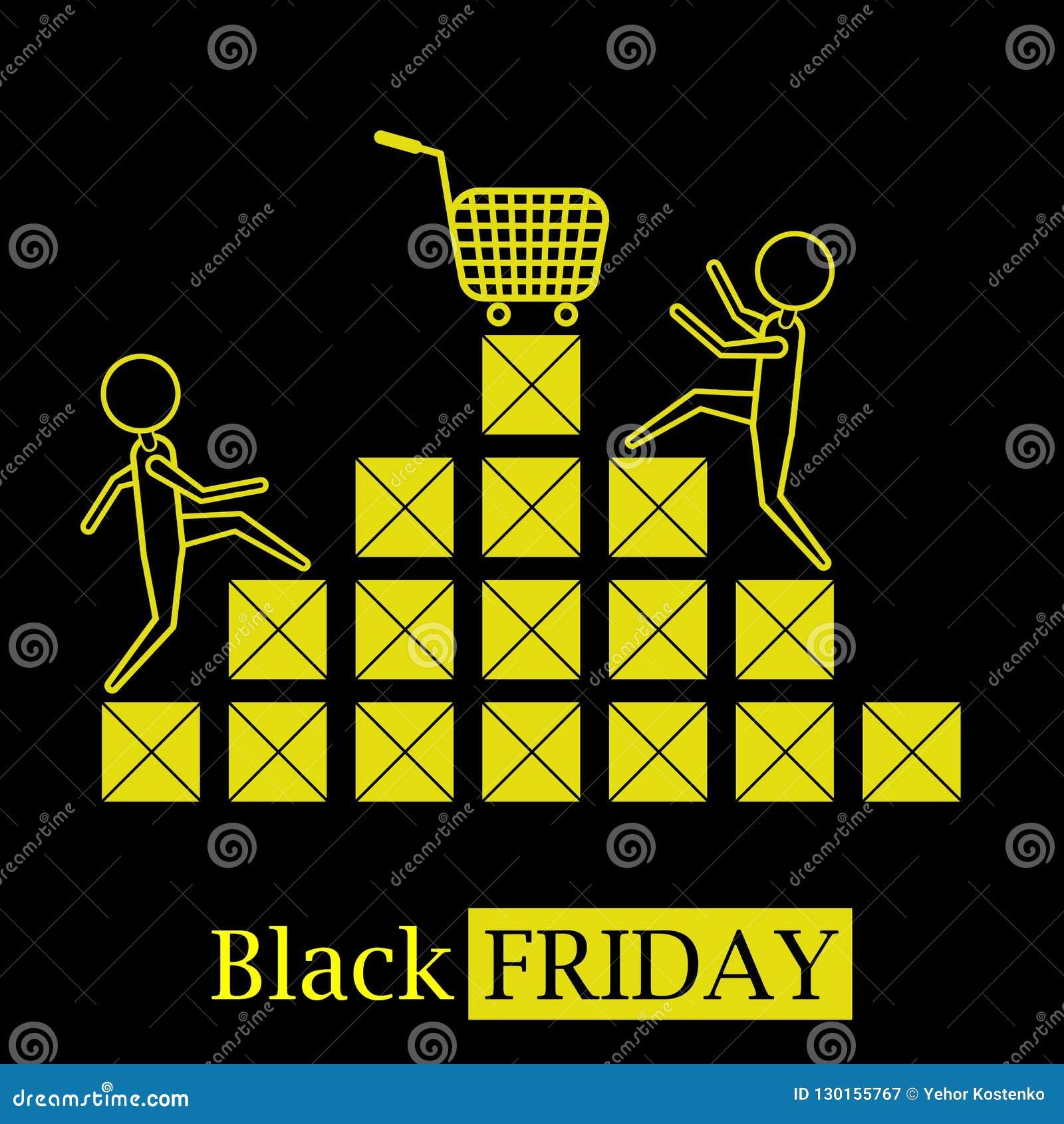 Het zwarte embleem van het het conceptenpictogram van de vrijdag hete verkoop met dozen en zwarte achtergrond