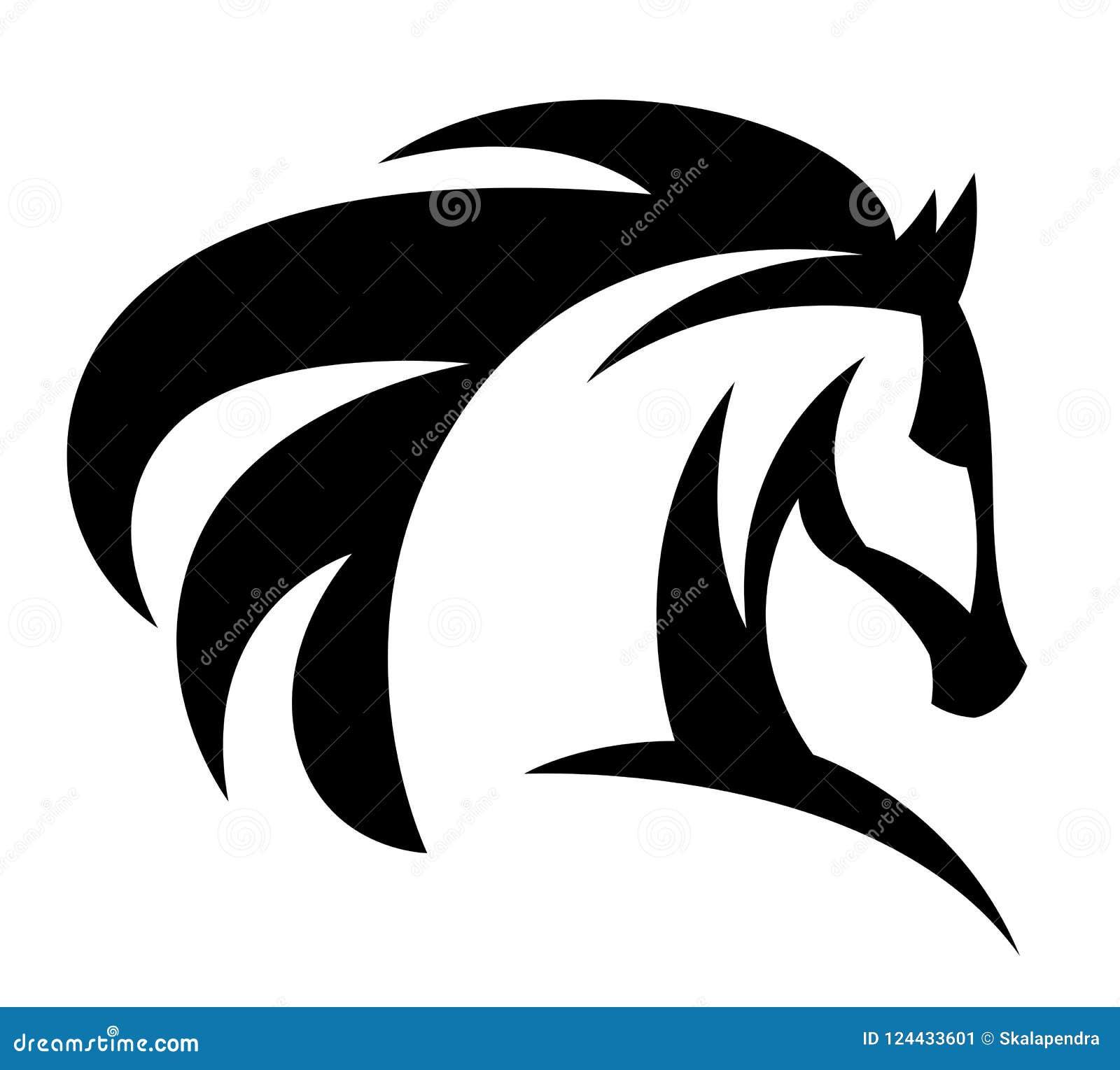 Het zwarte embleem van het paardhoofd