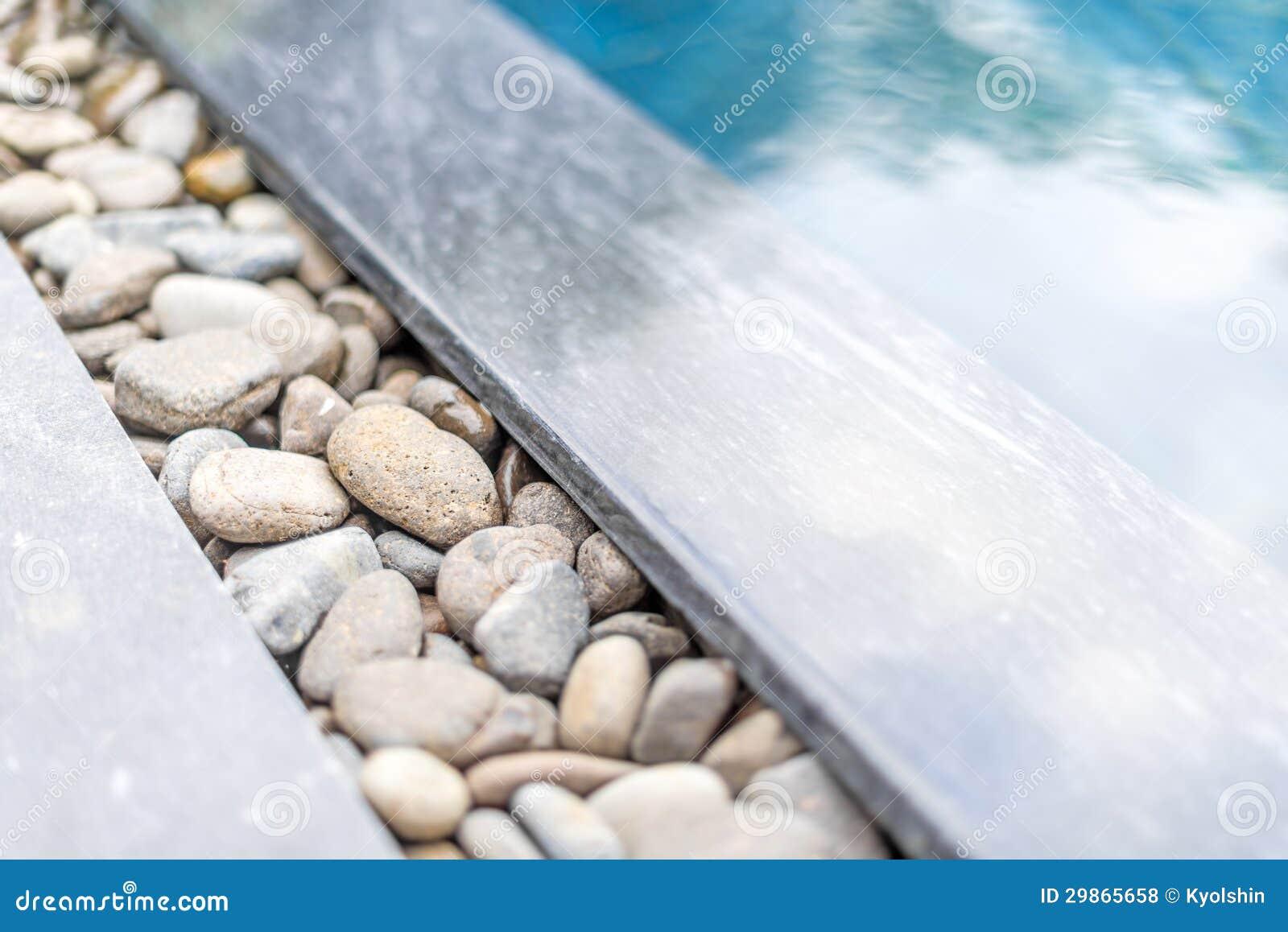 Pool met kiezelsteengrens met steen wordt ontworpen die stock