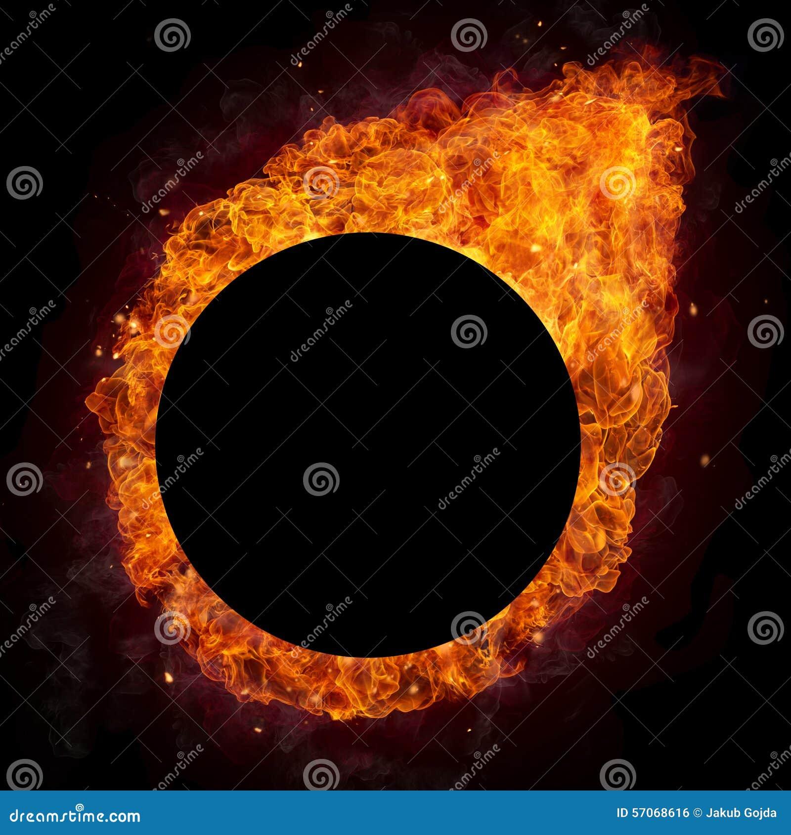 Hete brandenvlammen in ronde vorm