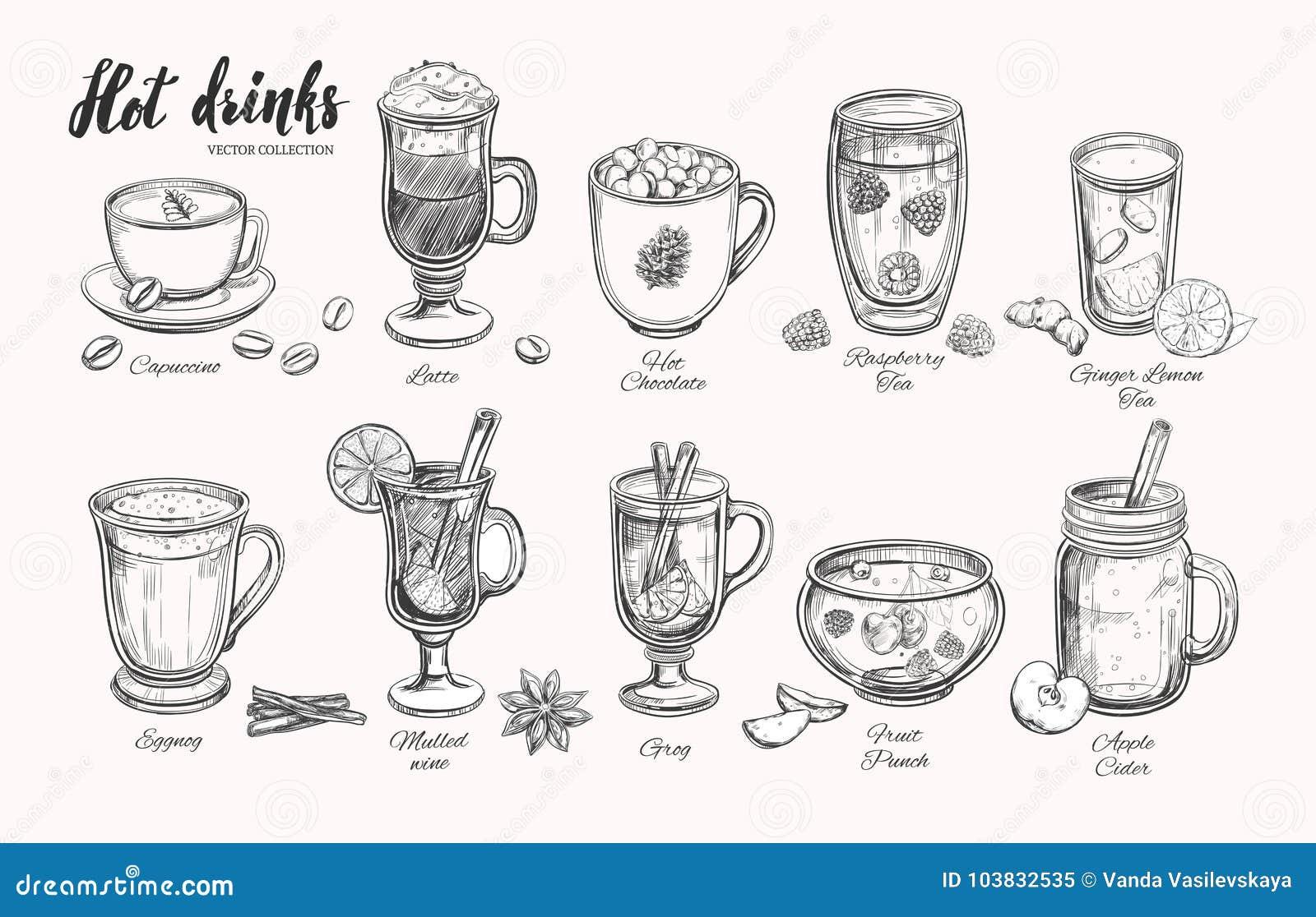 Hete dranken De vectorinzameling van de Kerstmiswinter Verschillende dranken in schetsstijl Koffie, Thee, Overwogen wijn, Stempel