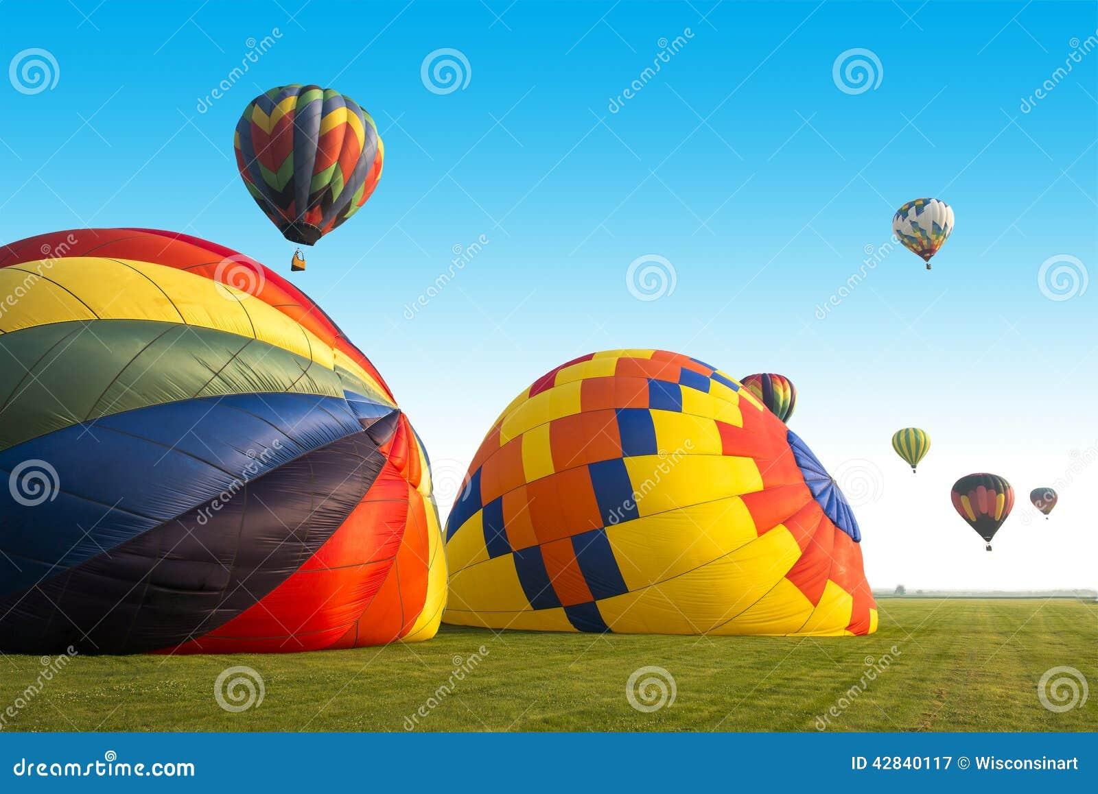 Kleur Veel Kleur : Hete luchtballon of ballons veel kleuren stock afbeelding