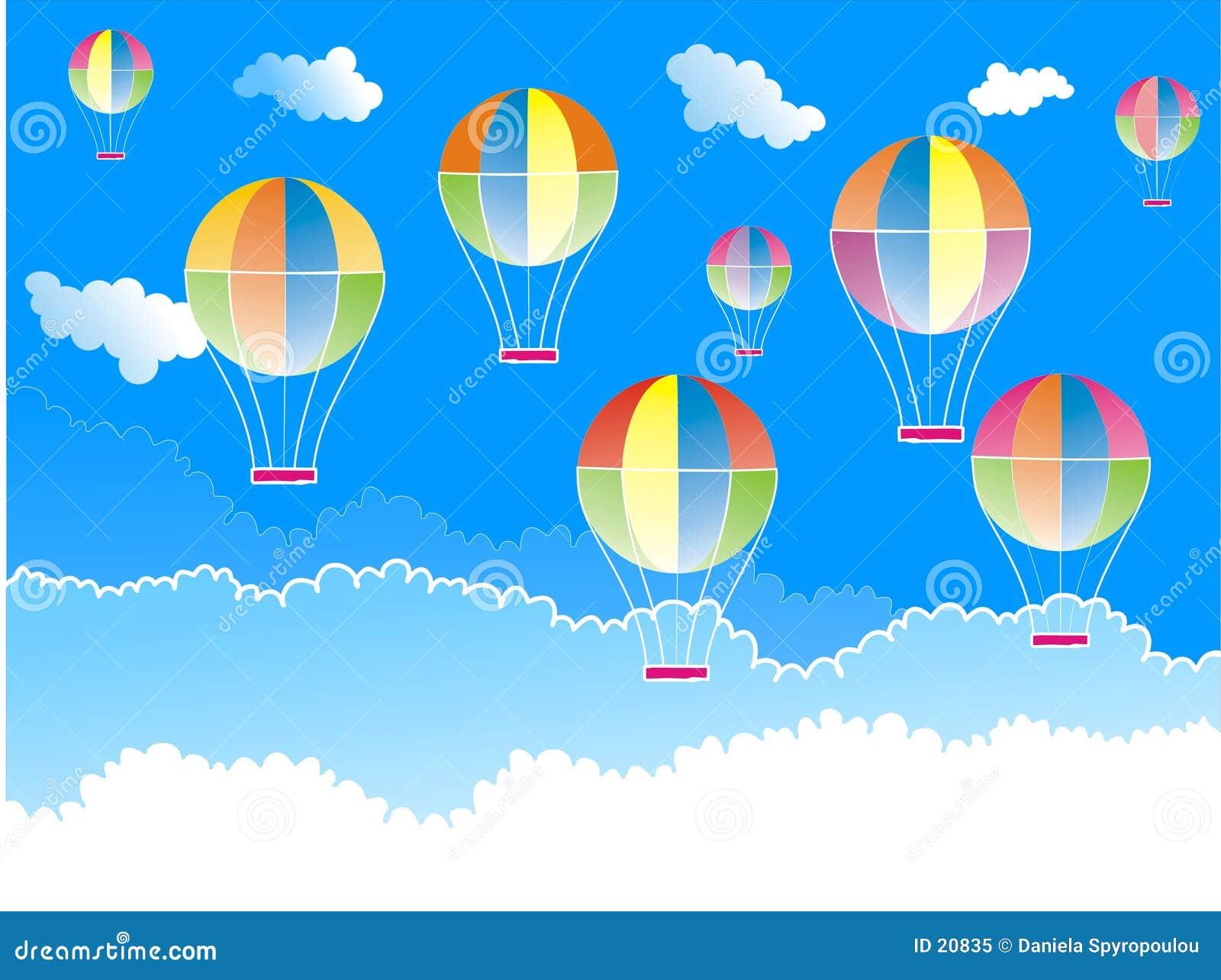 Download Hete luchtballons stock illustratie. Illustratie bestaande uit wolken - 20835