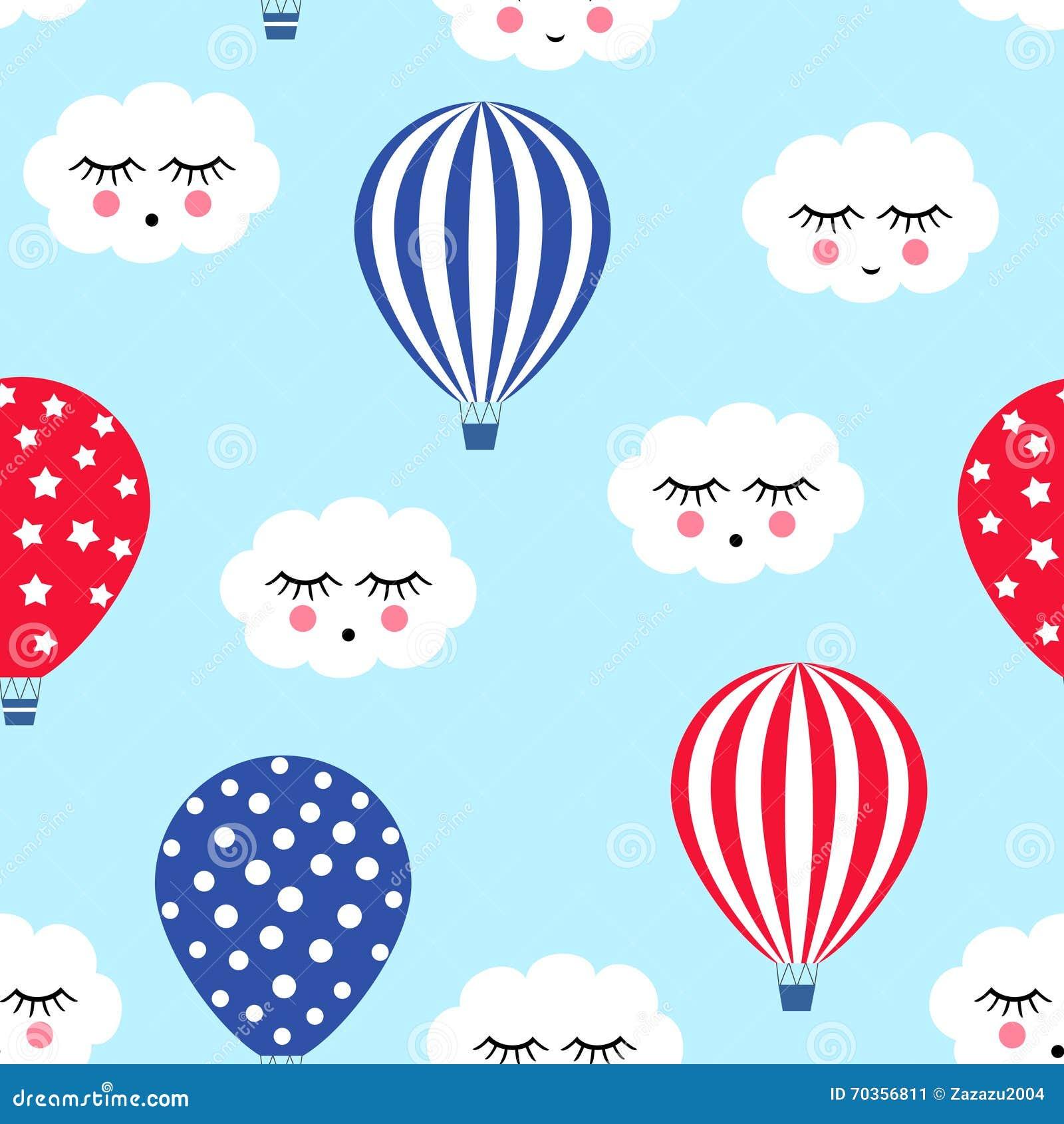 Hete luchtballons met leuk wolken naadloos patroon Helder de ballonsontwerp van de kleuren hete lucht De vectorillustraties van d