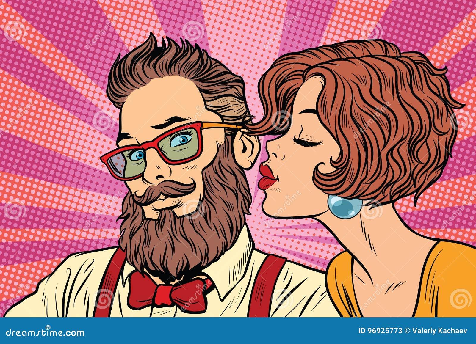 Heterosexuelles Paar, Schönheit Küsst Einen Hippie Vektor Abbildung ...